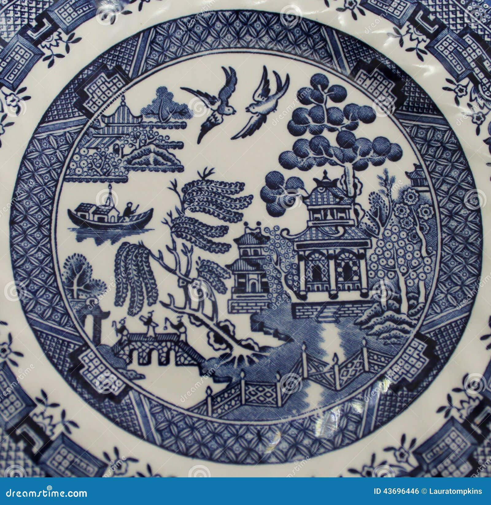 Willow China Pattern Plate Blu Anziana Fotografia Stock