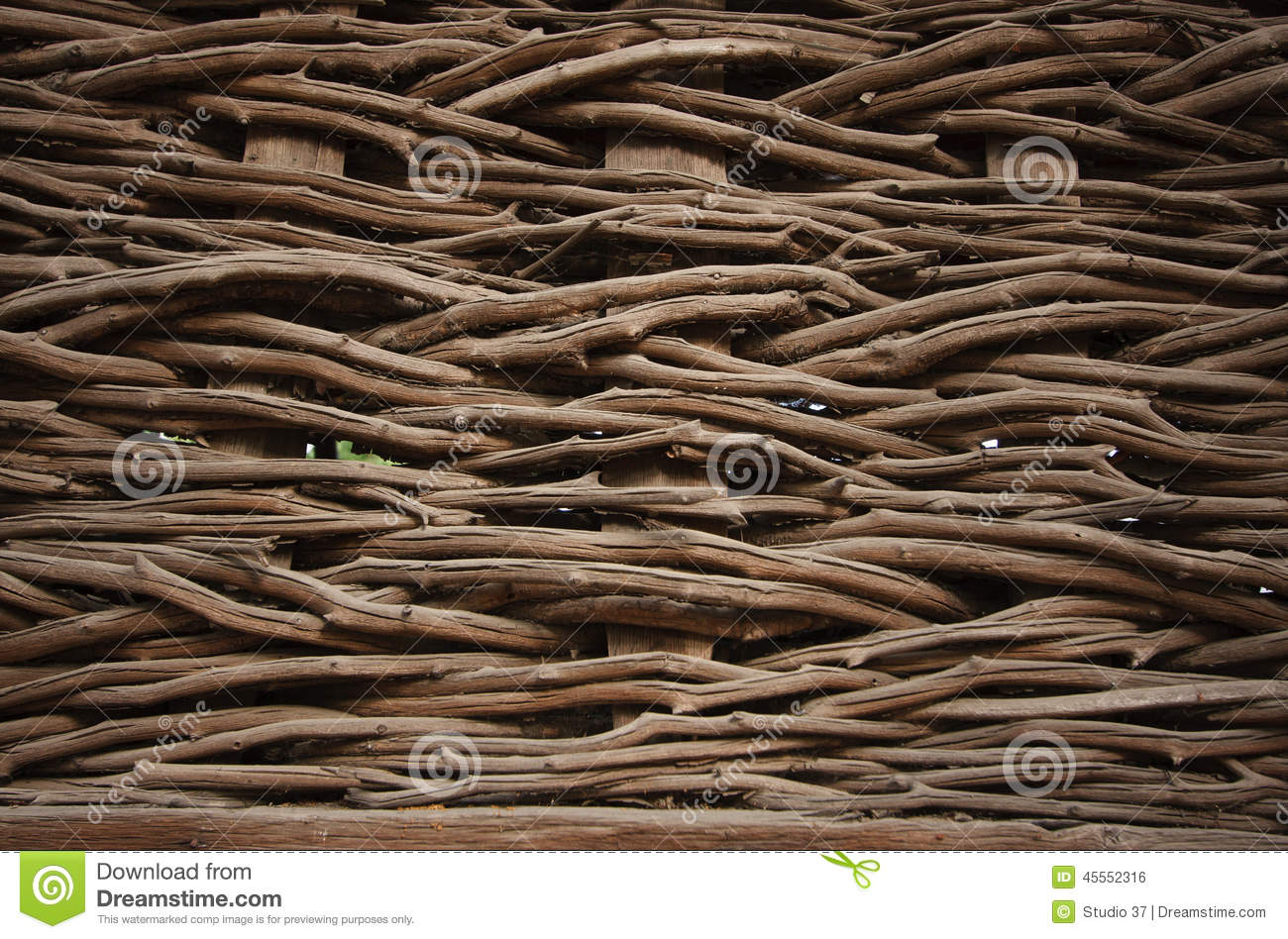 Willow Wicker Fence Stock Photo Image 45552316