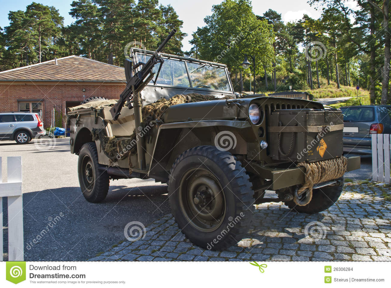 willys jeep 1945 with machine guns editorial stock image image of fortress auto 26306284. Black Bedroom Furniture Sets. Home Design Ideas