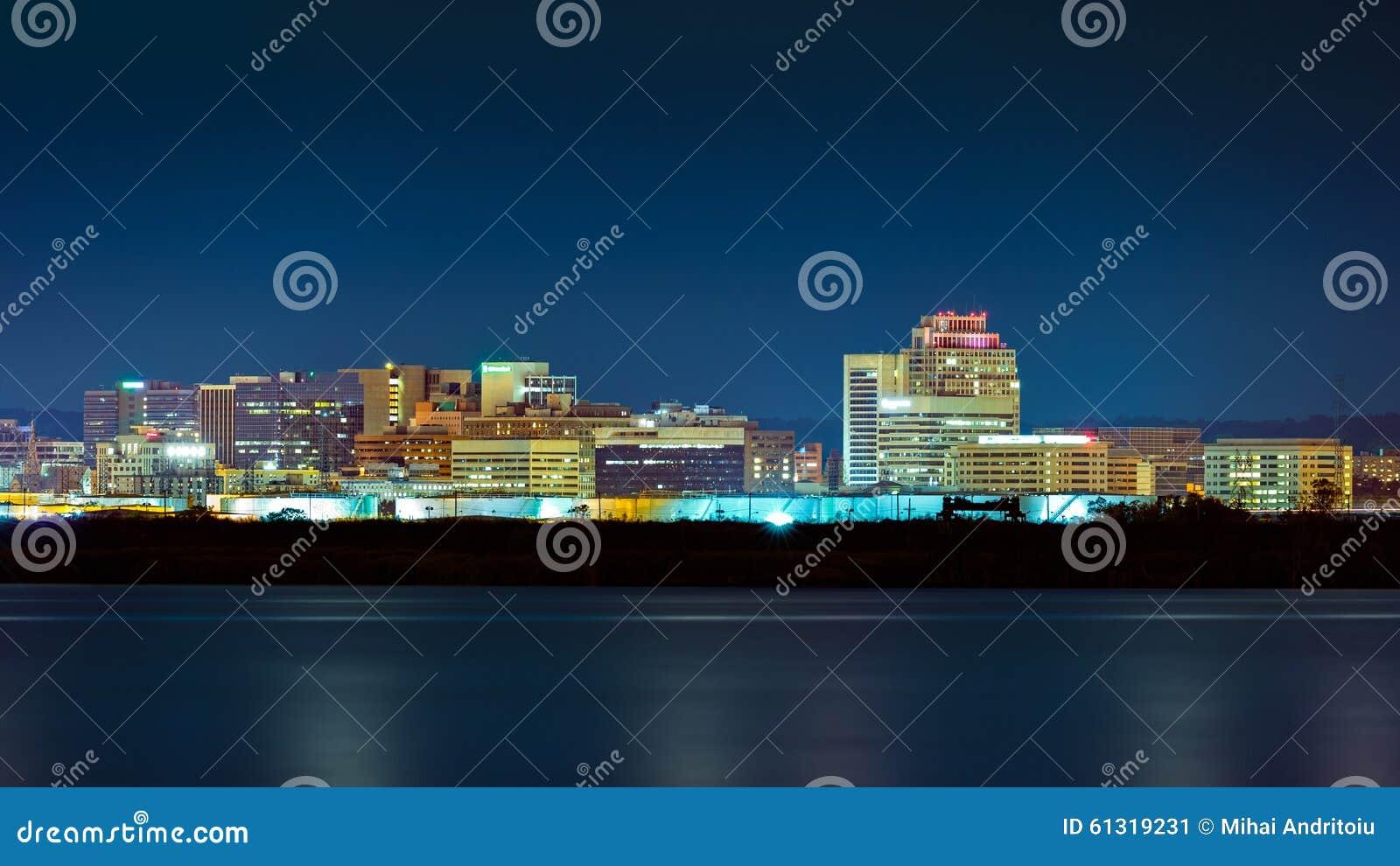 Wilmington-Skyline bis zum Nacht