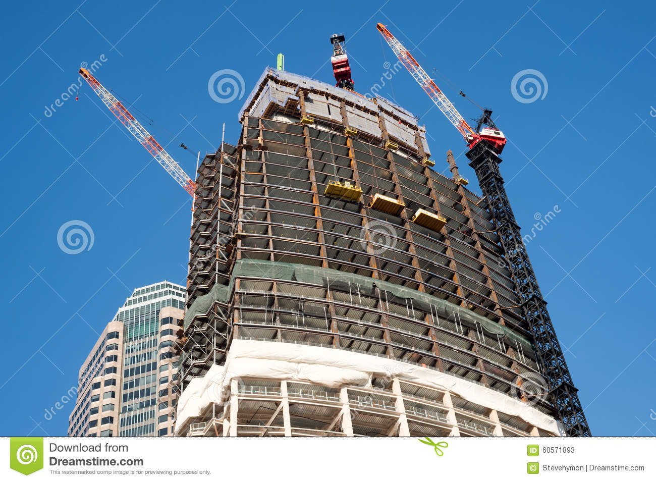 Wilshire Grand Tower construction in Los Angeles