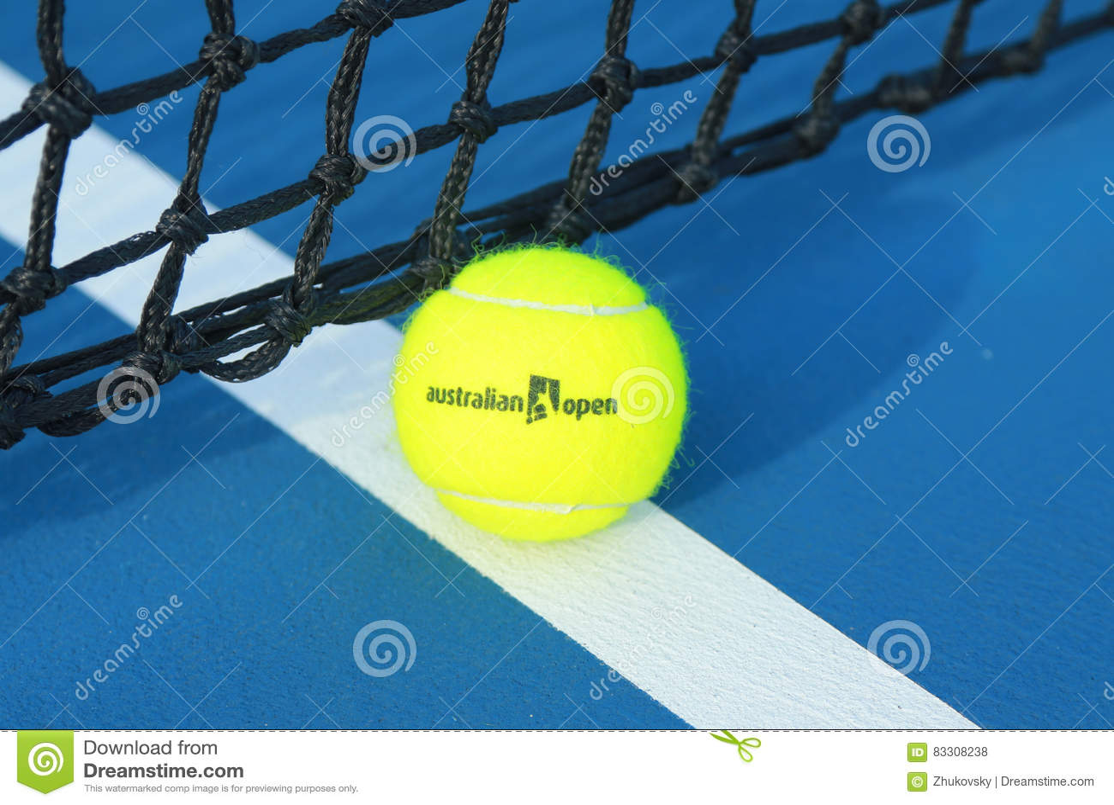 Wilson Tennis Ball With Australian Open Logo On Tennis Court At