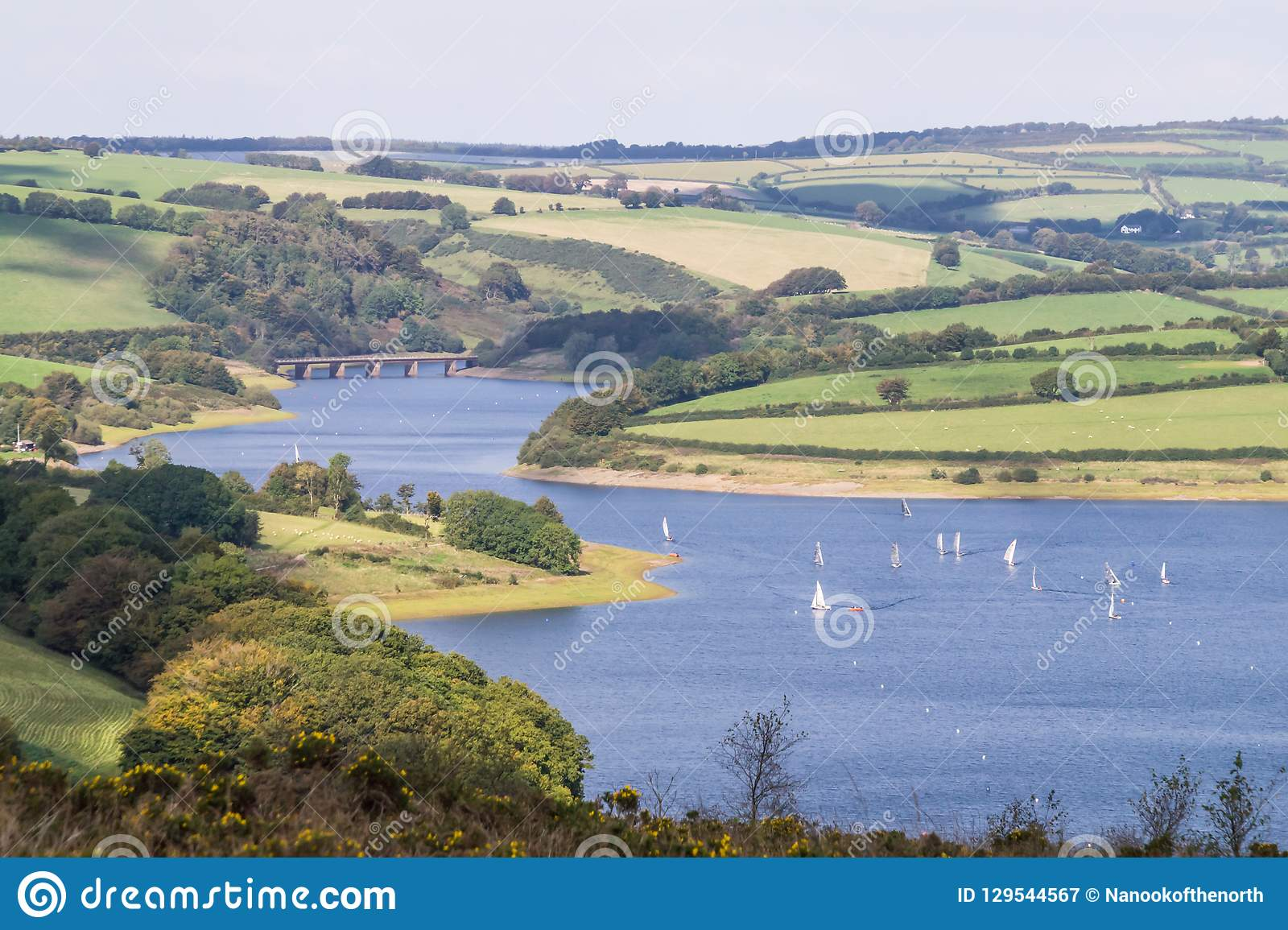 Wimbleball湖看法从Haddon小山的