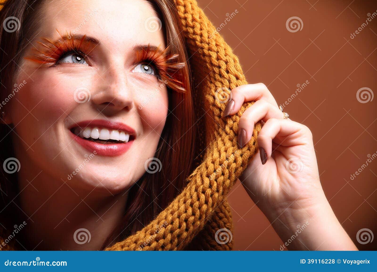 Wimpers van de het meisjesglamour van de de herfstvrouw de verse