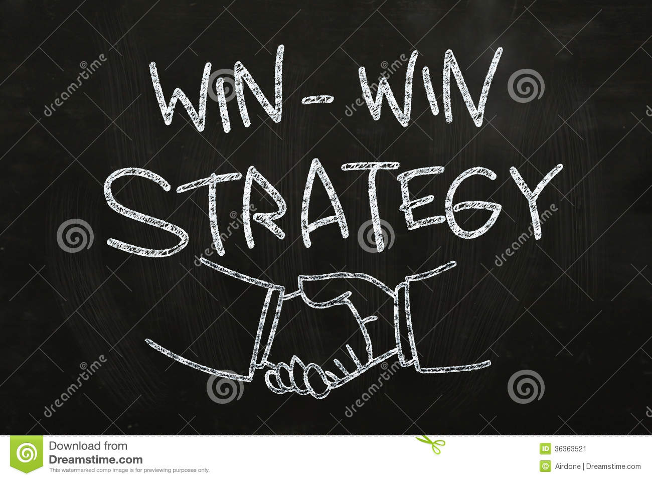 ... Win Strategy quotes and hand shakes, drawn with Chalk on Blackboard