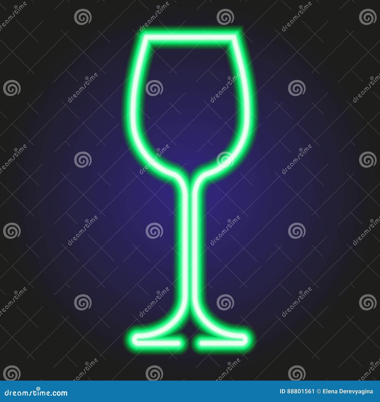 Wina szkła rozjarzony zielony neonowy ilustracja