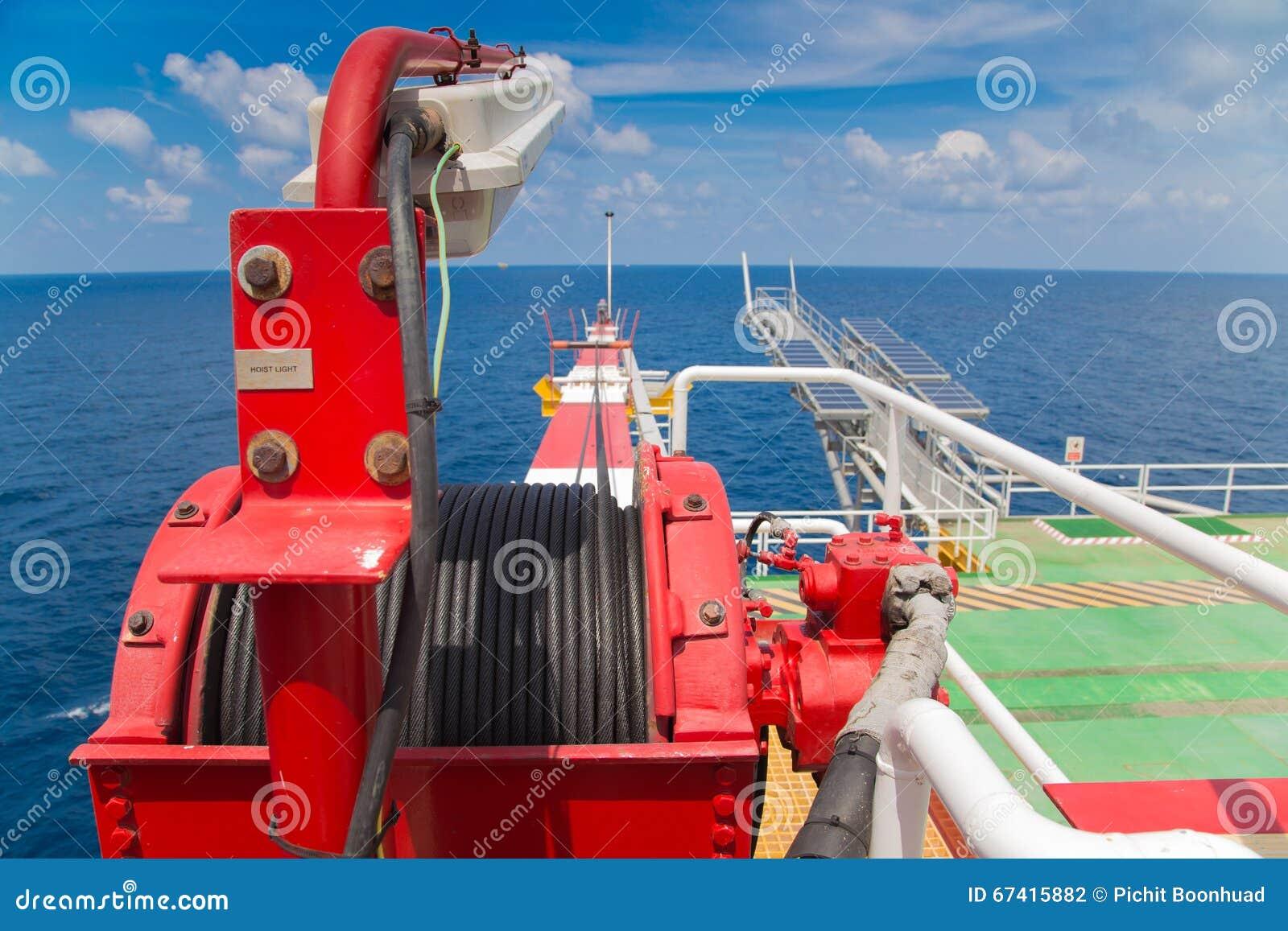 Winch dźwigowy huk przy ropa i gaz wellhead pilota platformą