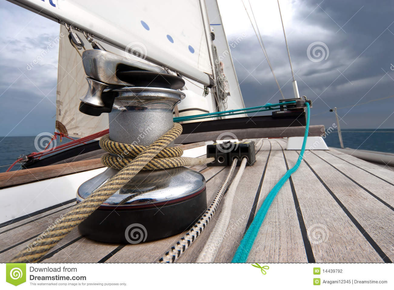Winch With Rope On Sailing Boat Stock Photo - Image of ...