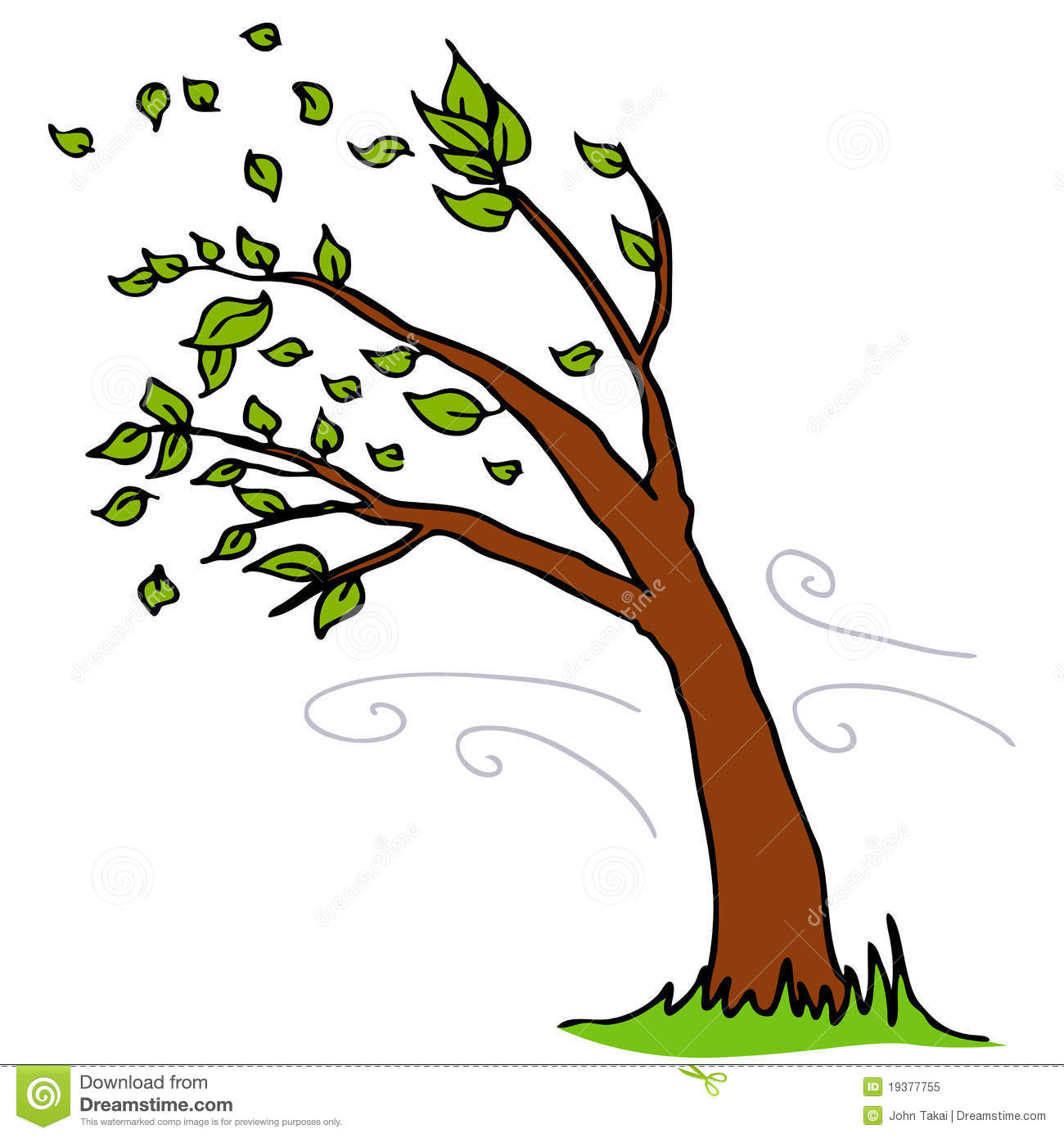 wind blowing leaves off tree stock vector illustration Windy Cartoon Fall Weather Clip Art