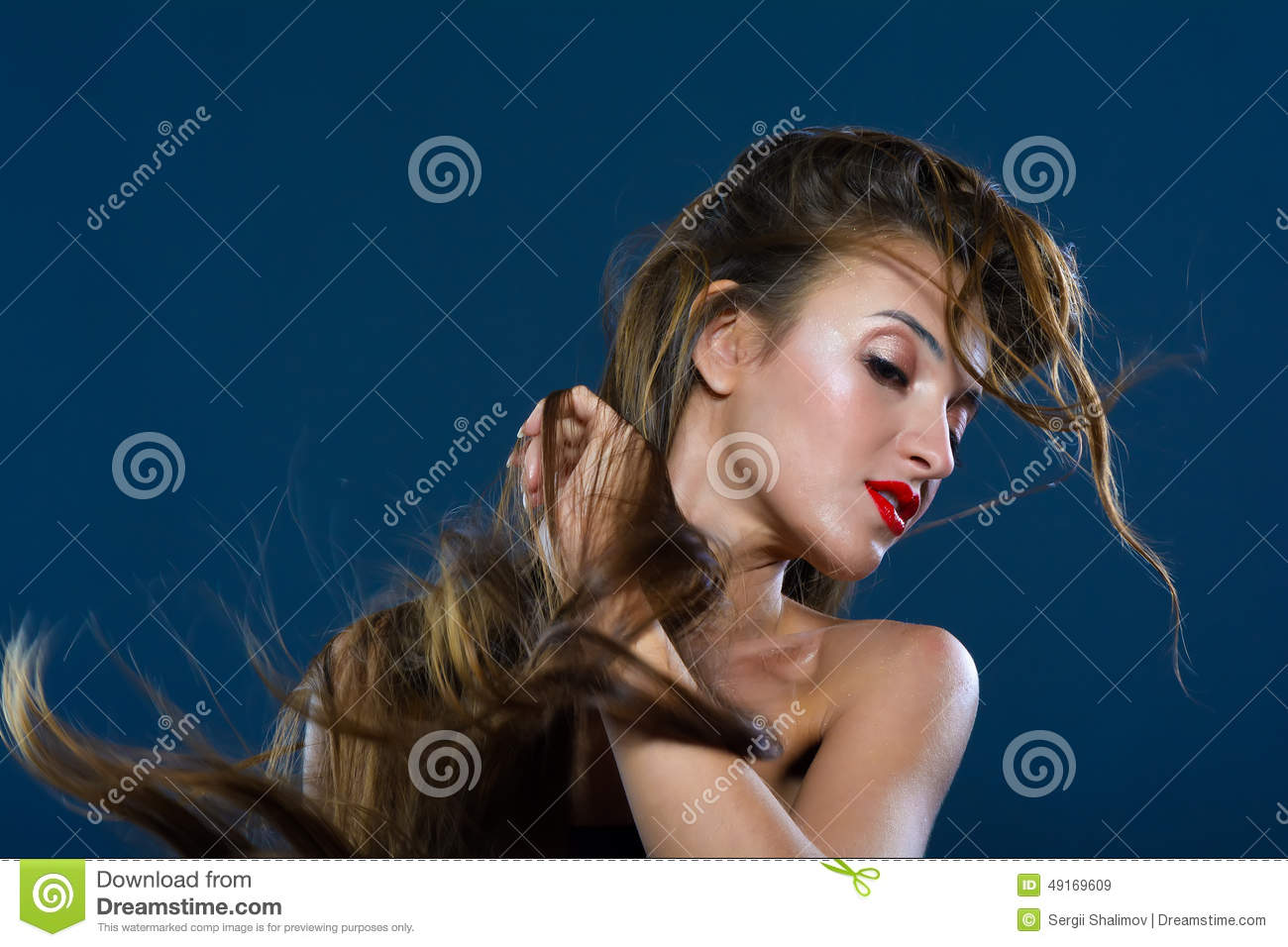 Wind Blowing On Long Hair Stock Image Image Of Beautiful 49169609