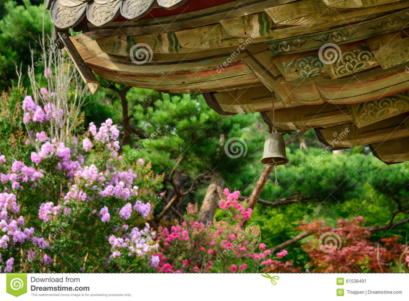 Wind chime under the eaves stock image  Image of sound