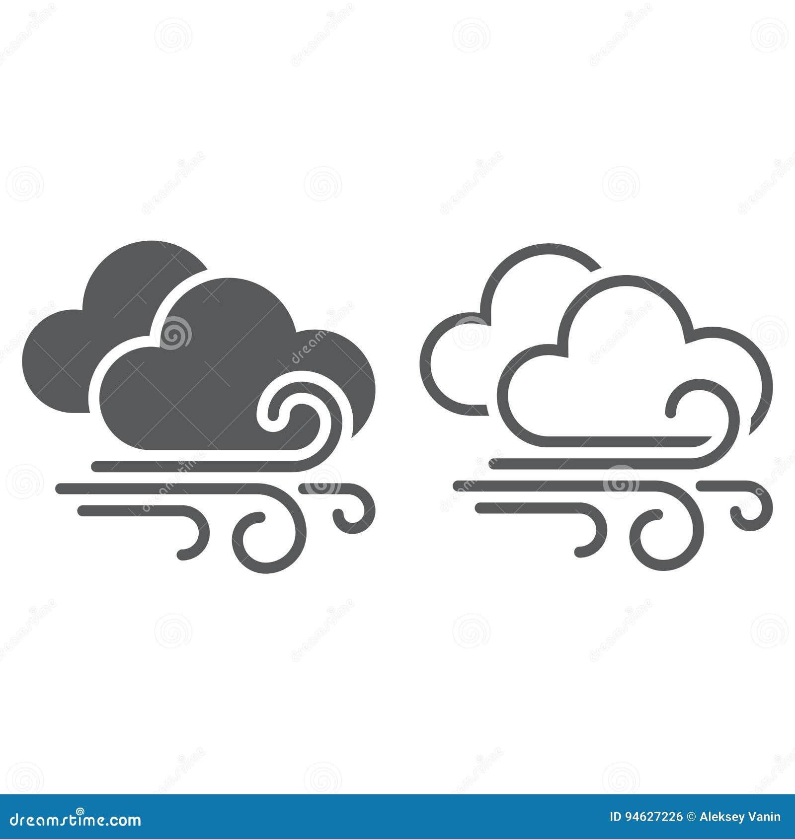 Wind en van het wolkenweer pictogram vast lichaam en overzicht