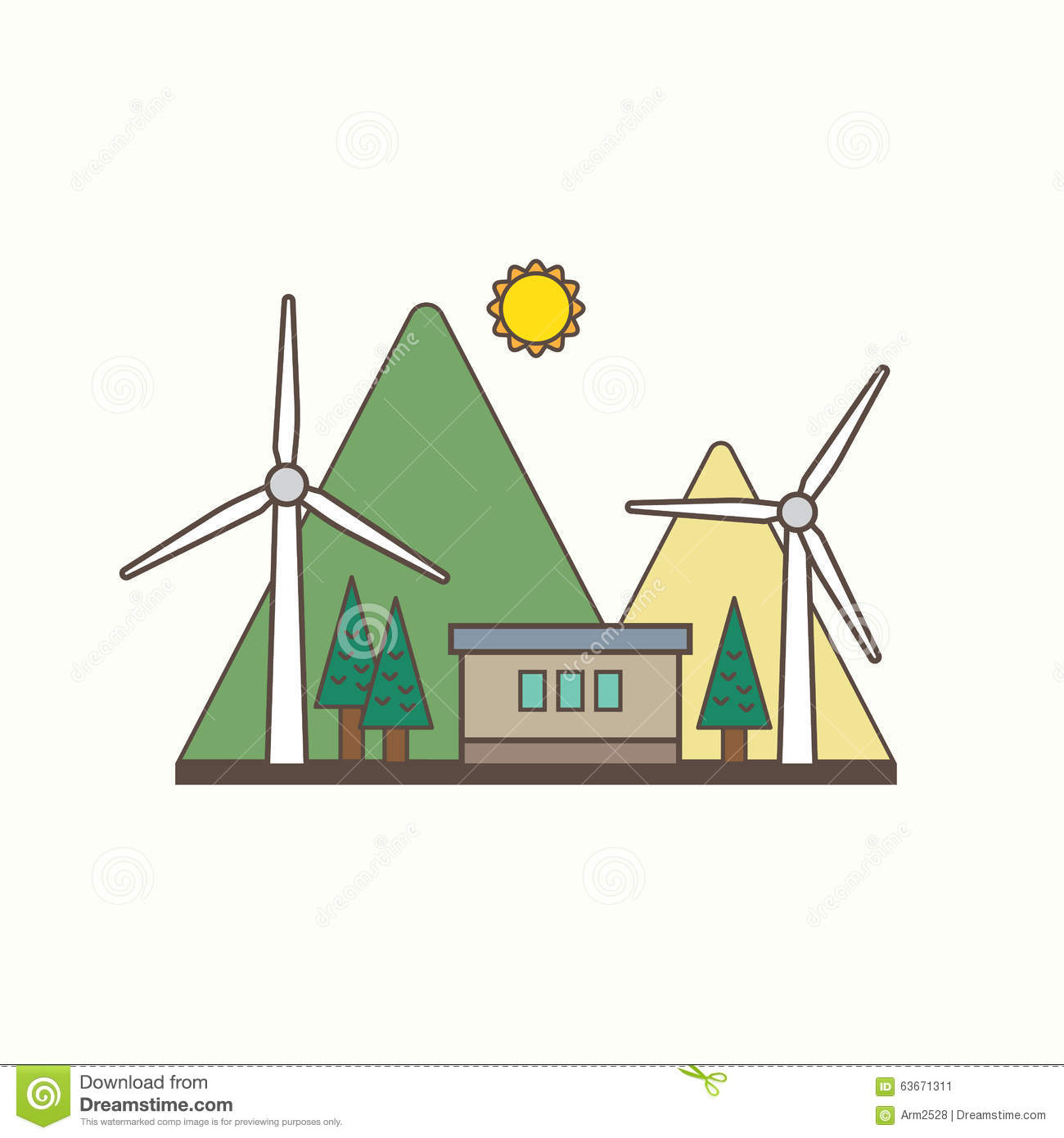 Wind Energy Stock Vector Illustration Of Simple Power 63671311 Diagram