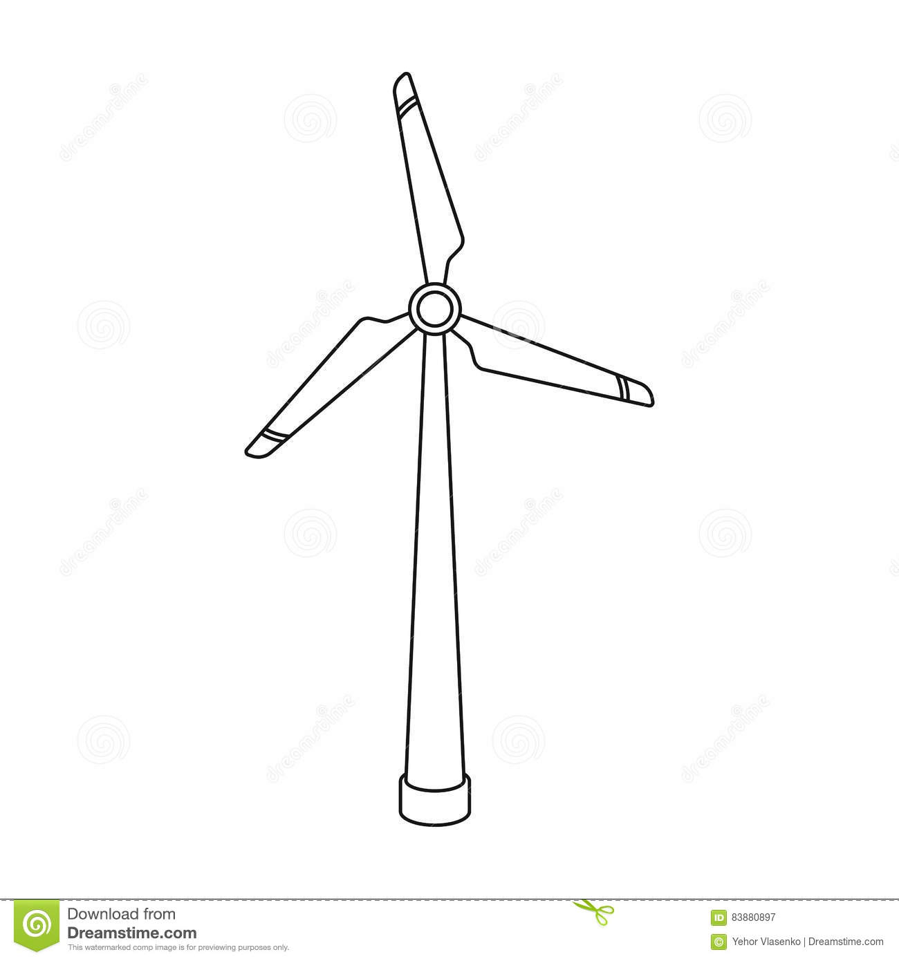 wind energy turbine icon in outline style isolated on