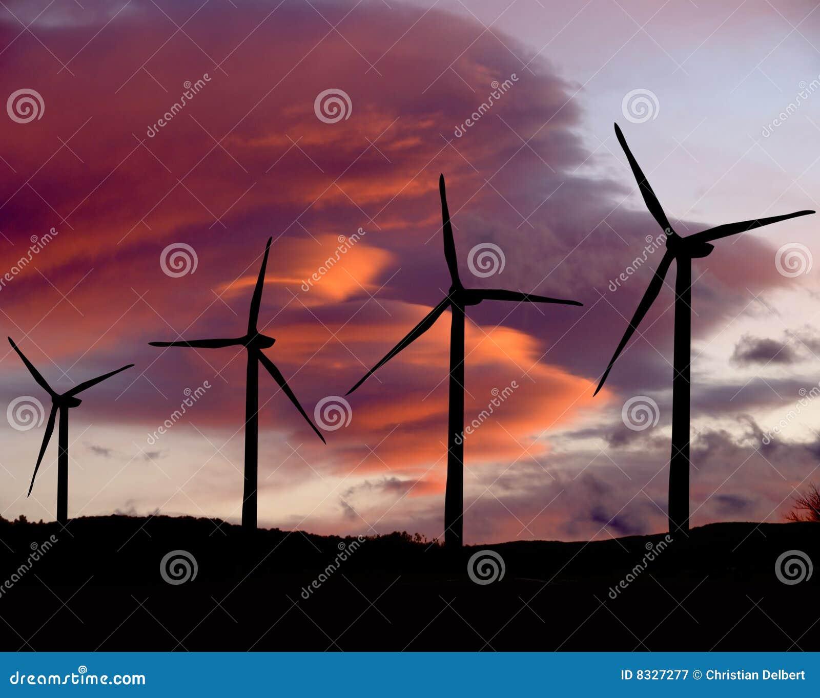 Wind för solnedgångturbiner två