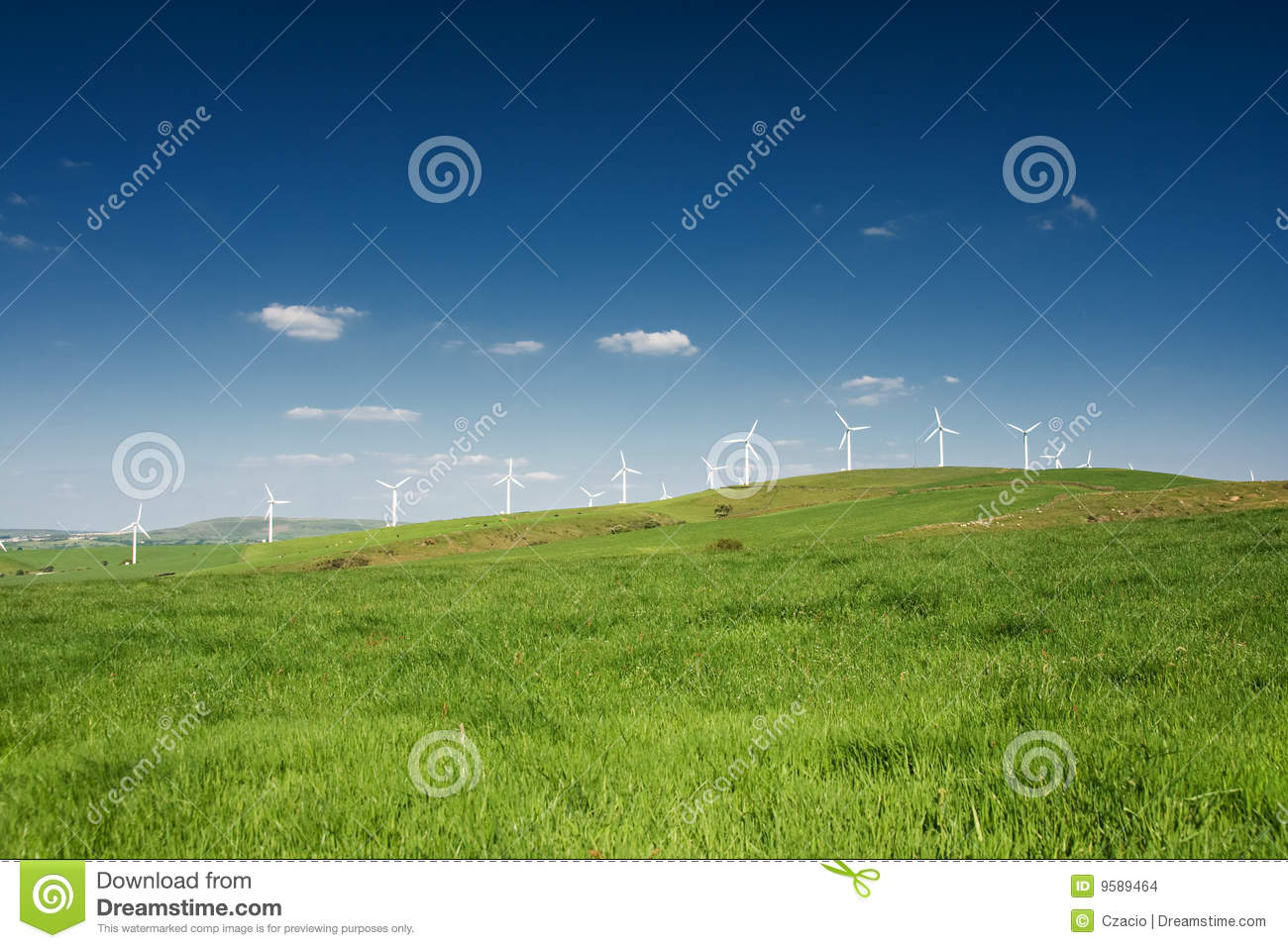 Wind turbines farm on the hills in Wales, UK. Alternative energy ...