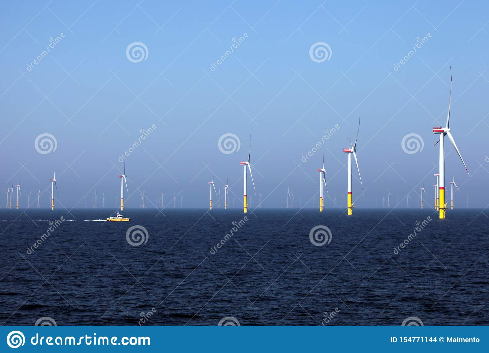 Wind farm offshore, green electricity