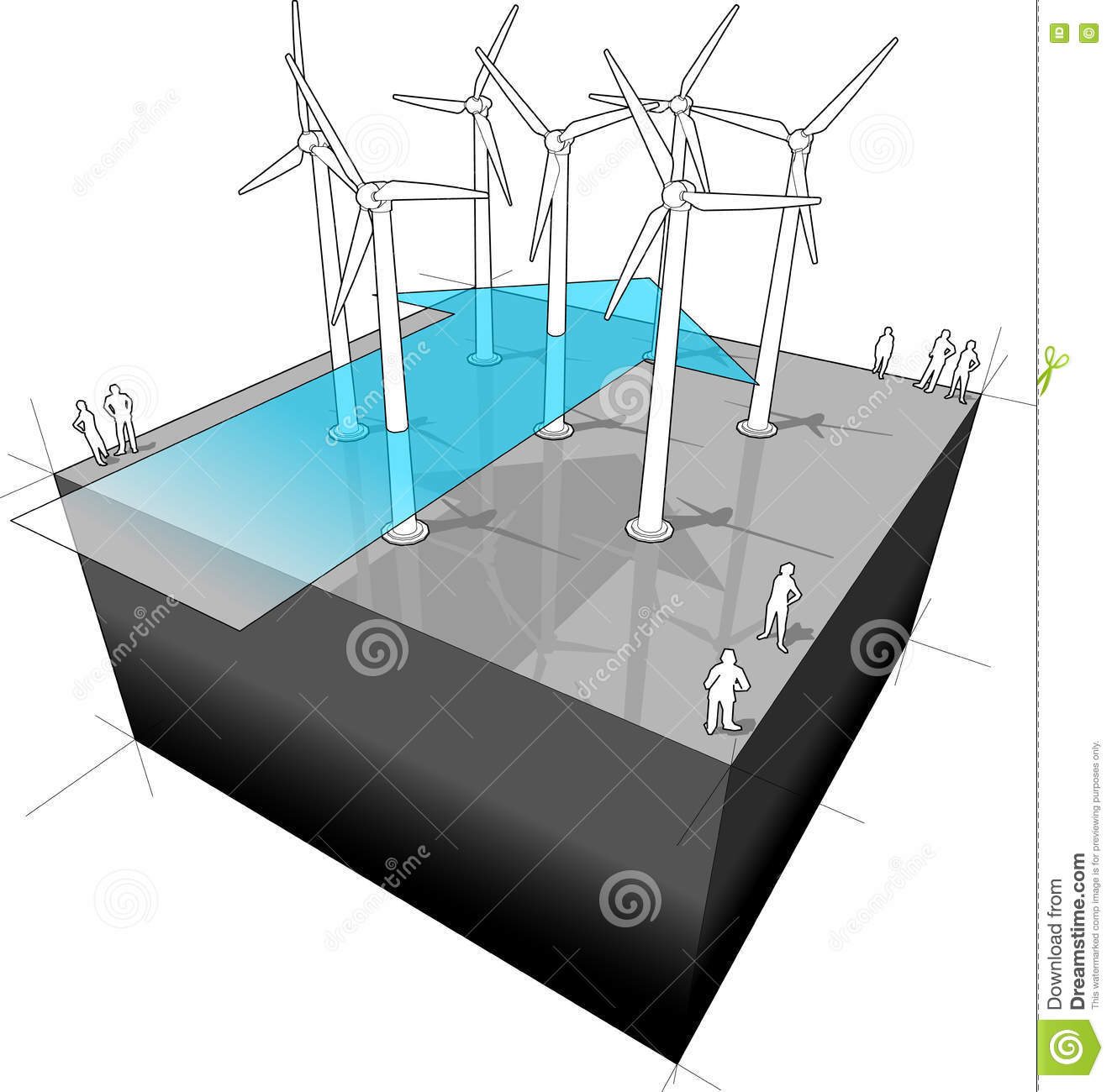 Wind Farm With Arrow Diagram Stock Vector Illustration Of Turbines