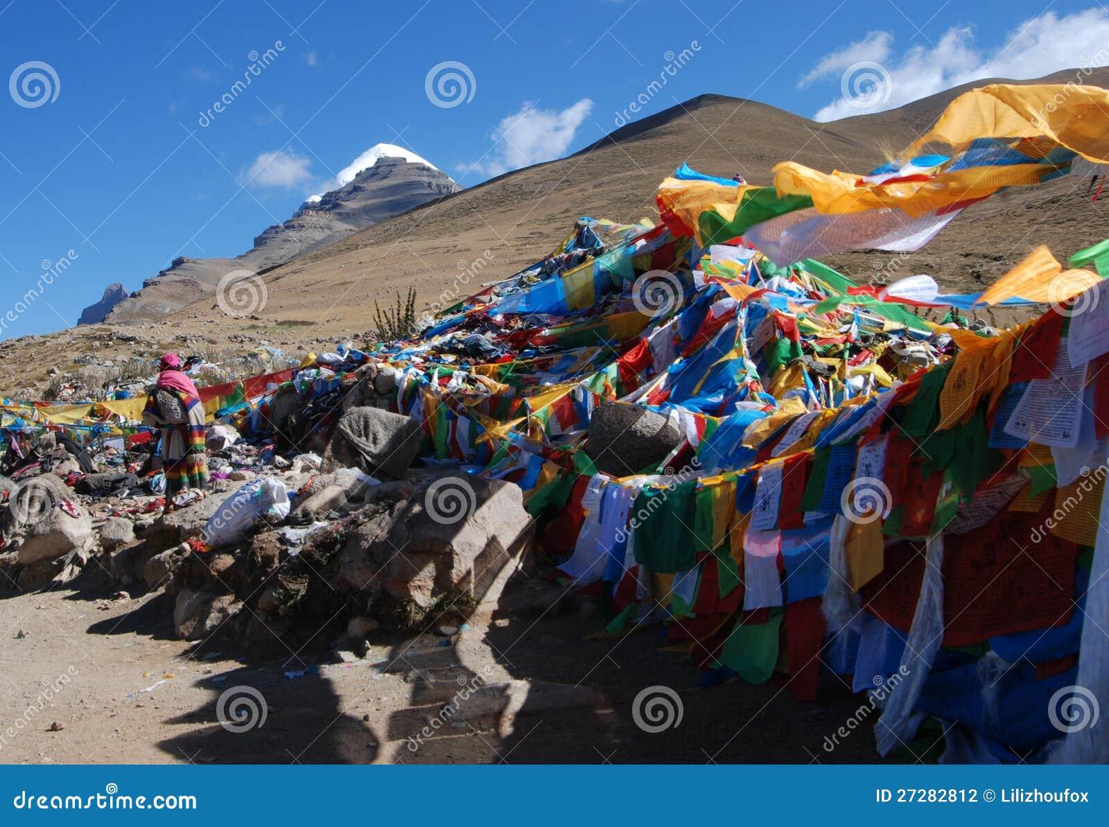 Wind-häst flagga i Tibet