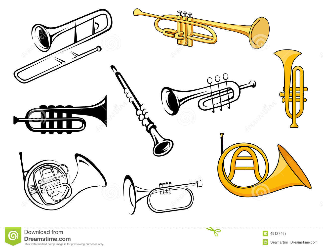 Trumpets, trombone, tuba, clarinet icons in sketch and cartoon style ...