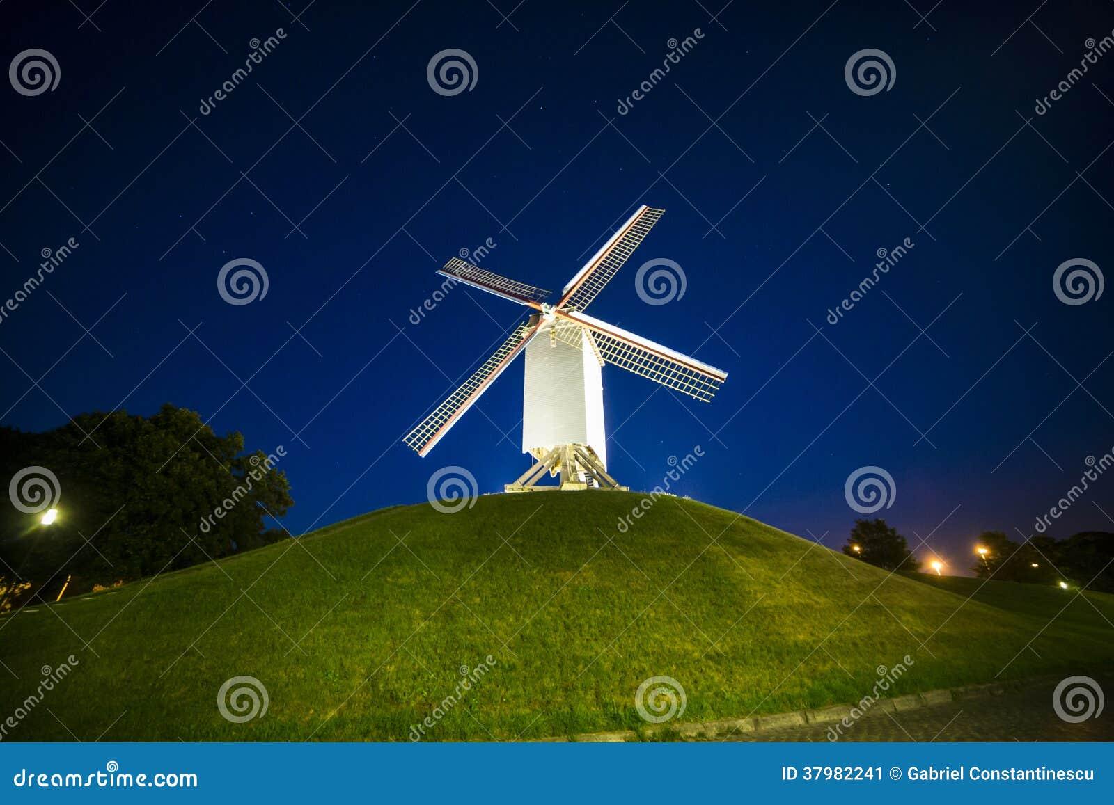Wind mill at night