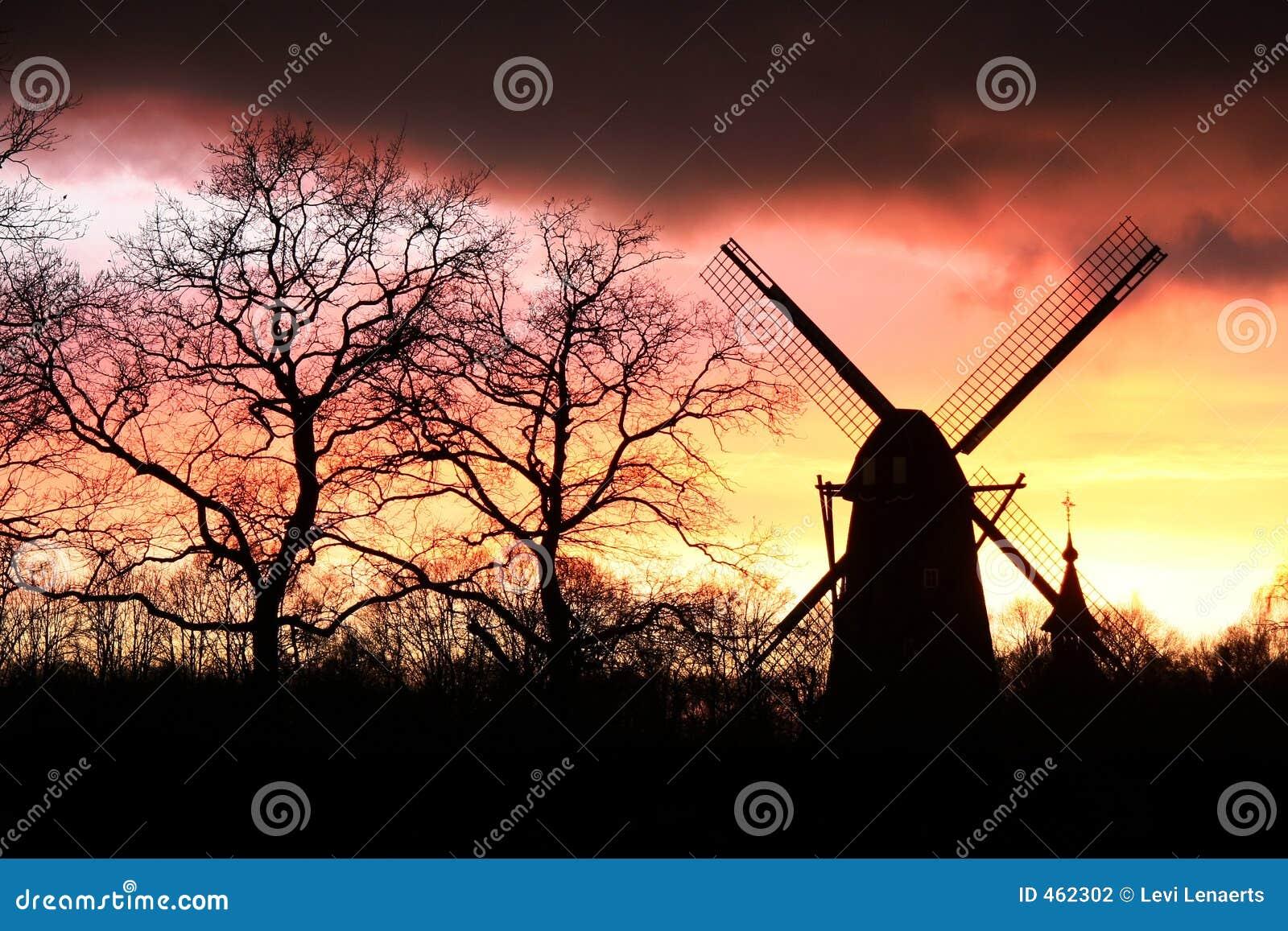 Wind mill silhouette
