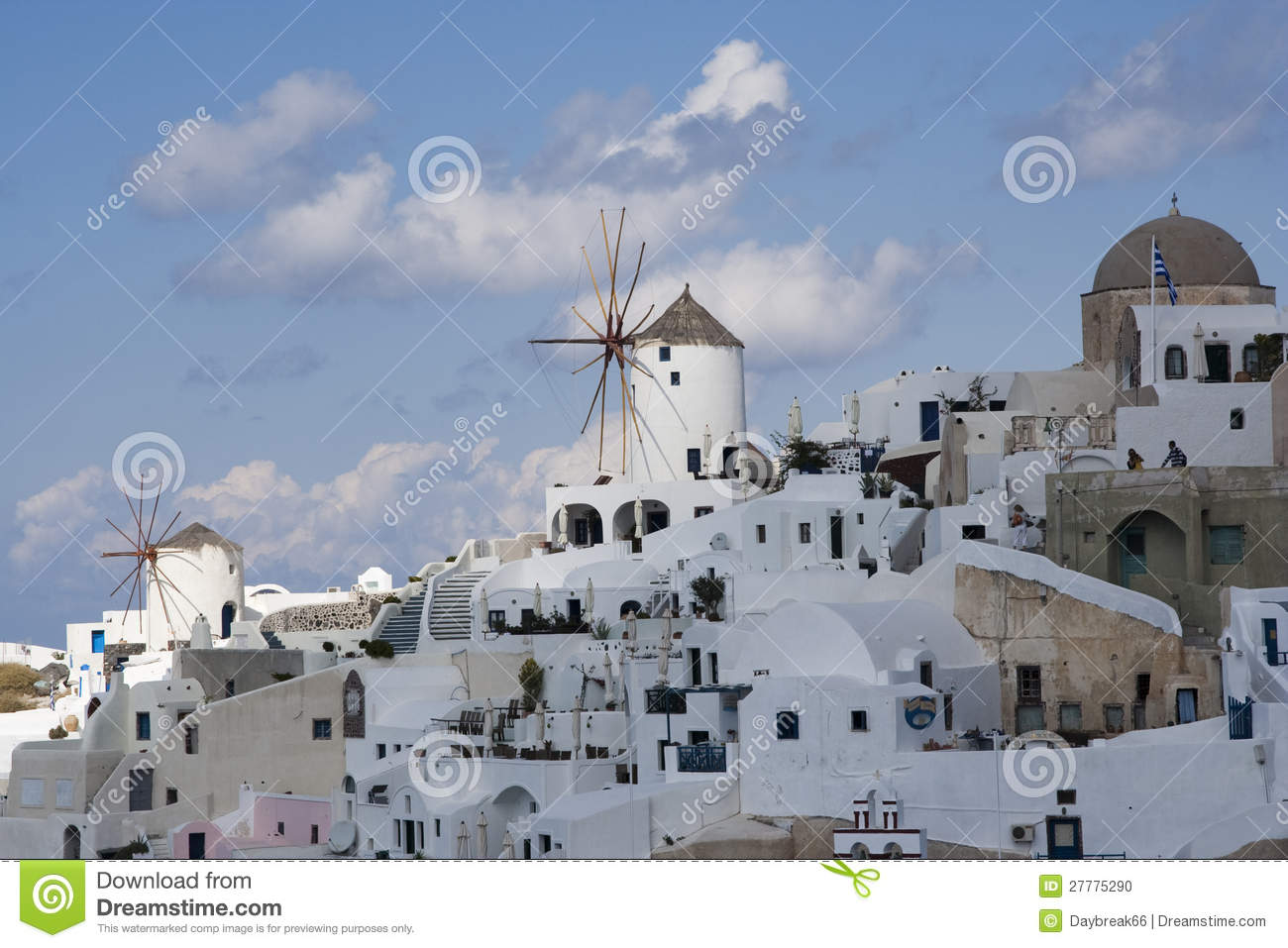 Wind mills and architecture at santorini stock photo Wind architecture