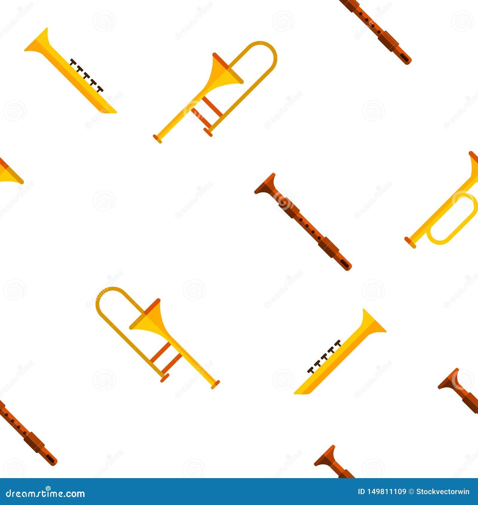 Wind-Musikinstrument-Vektor-nahtloses Muster