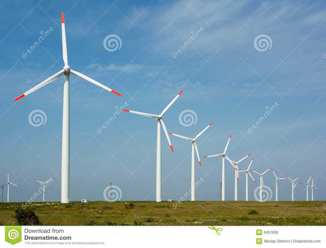 Wind power generation with many large turbines, technology preserving ...
