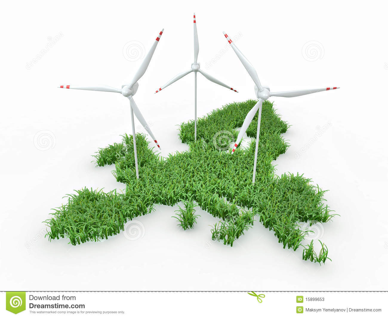 Wind Power Generators On The Map Of Europe Stock Illustration