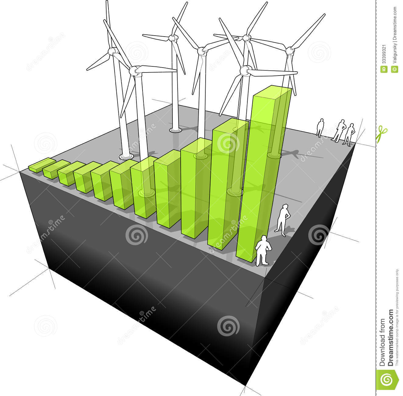 Diagram of a wind turbine farm with rising bar diagram symbolising