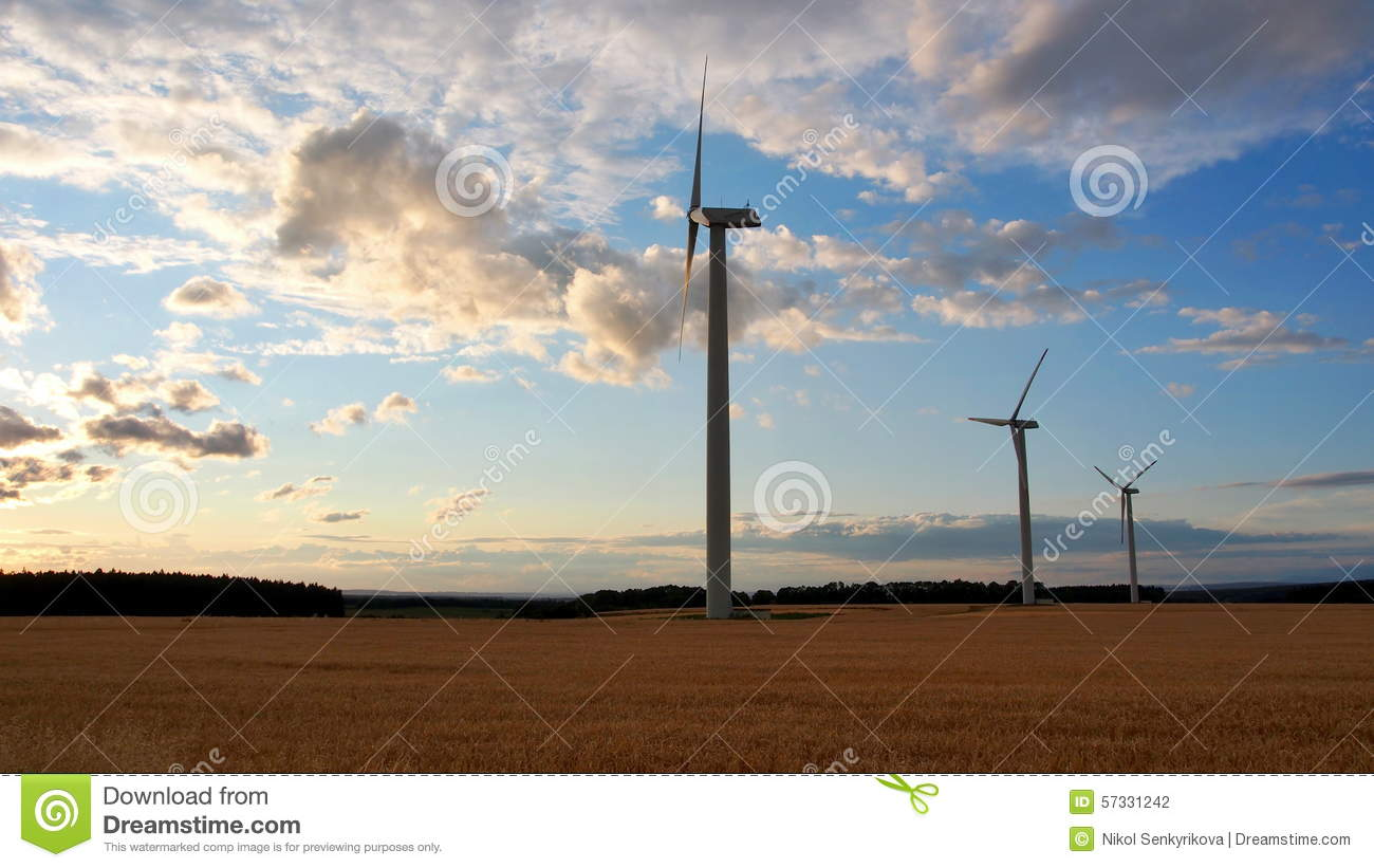 Wind Power Plant At Sunset Time Stock Photo - Image: 57331242