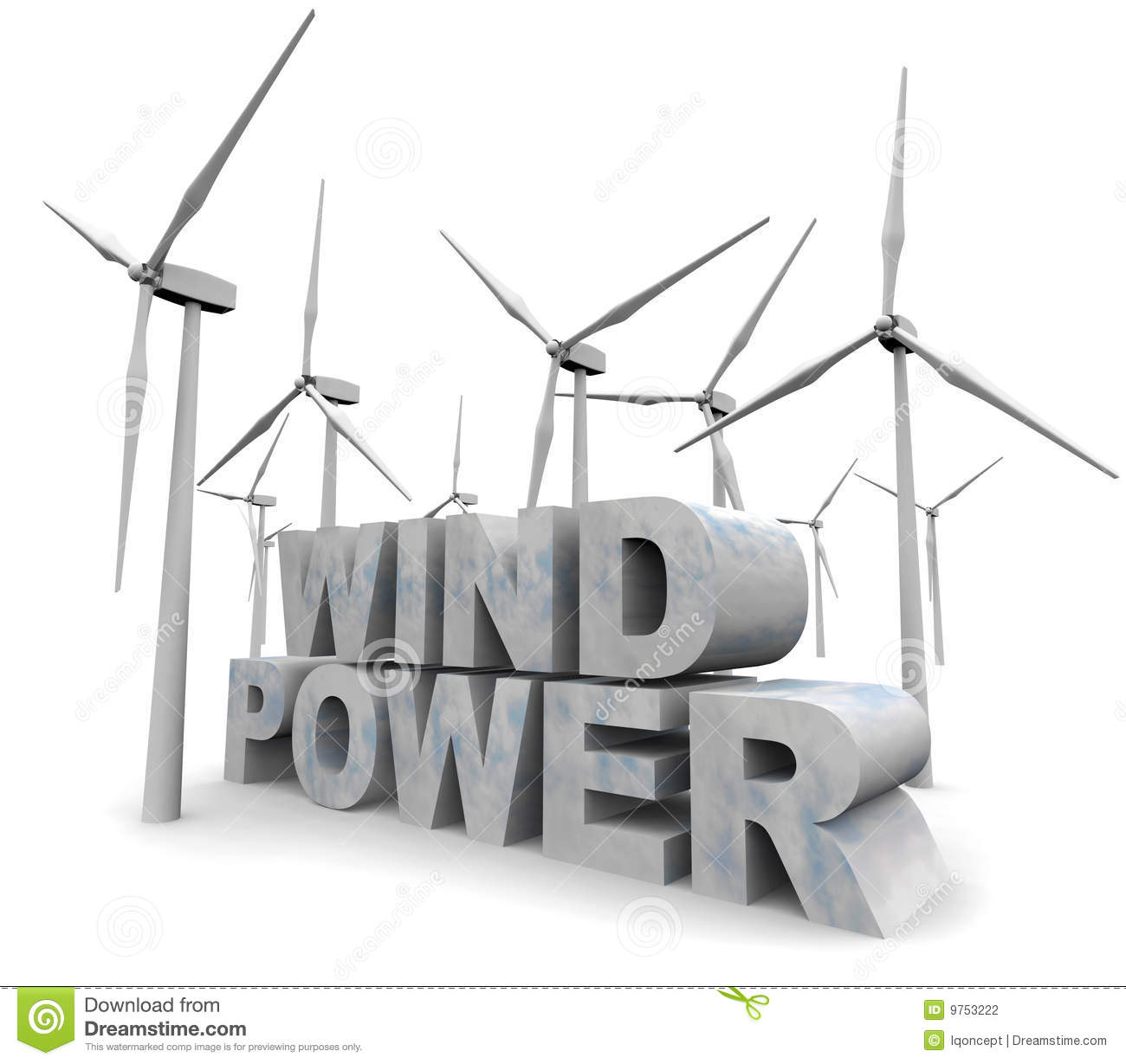 The words Wind Power surrounded by windmill turbines.