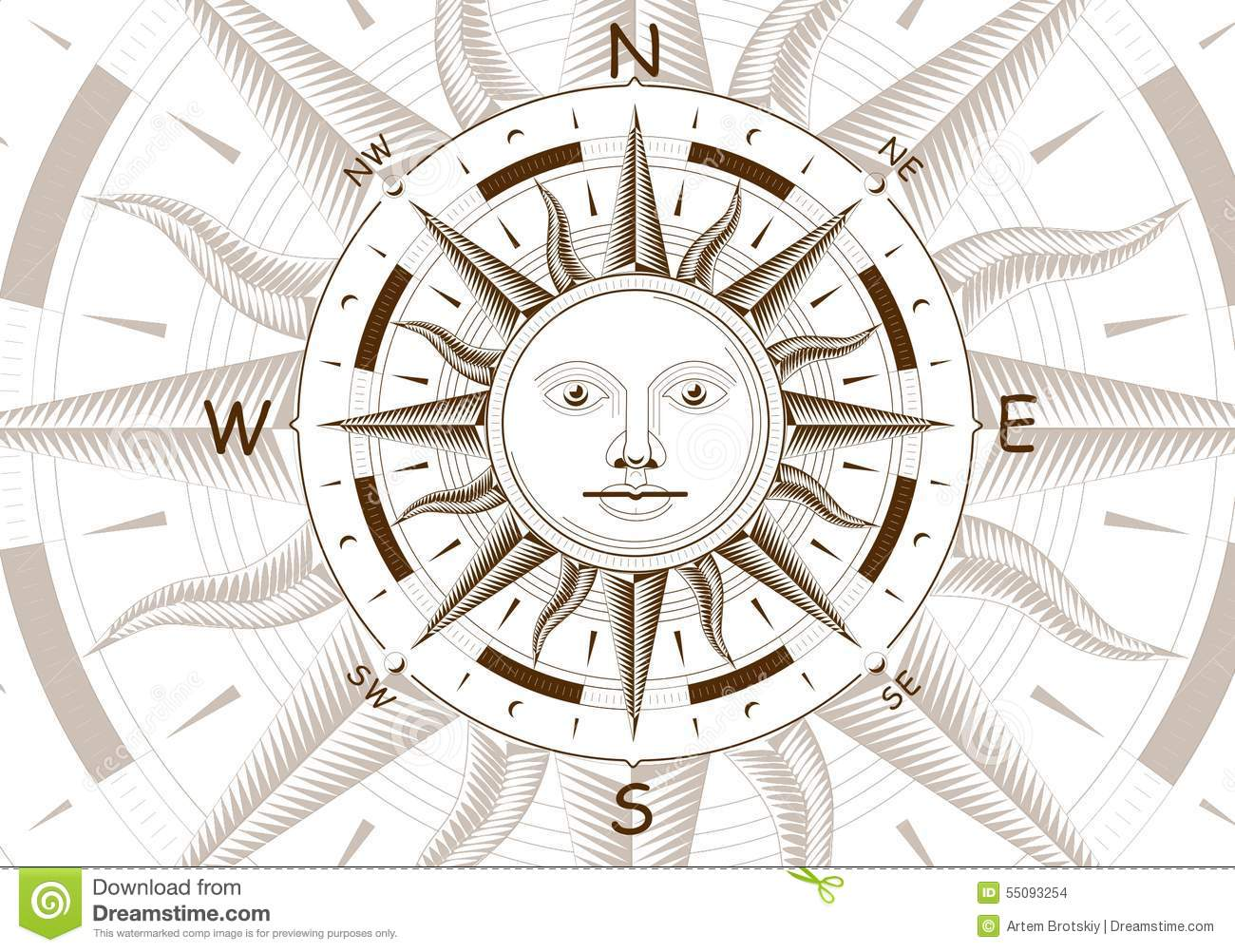 Wind Rose Compass Vector Stock Vector - Image: 55093254