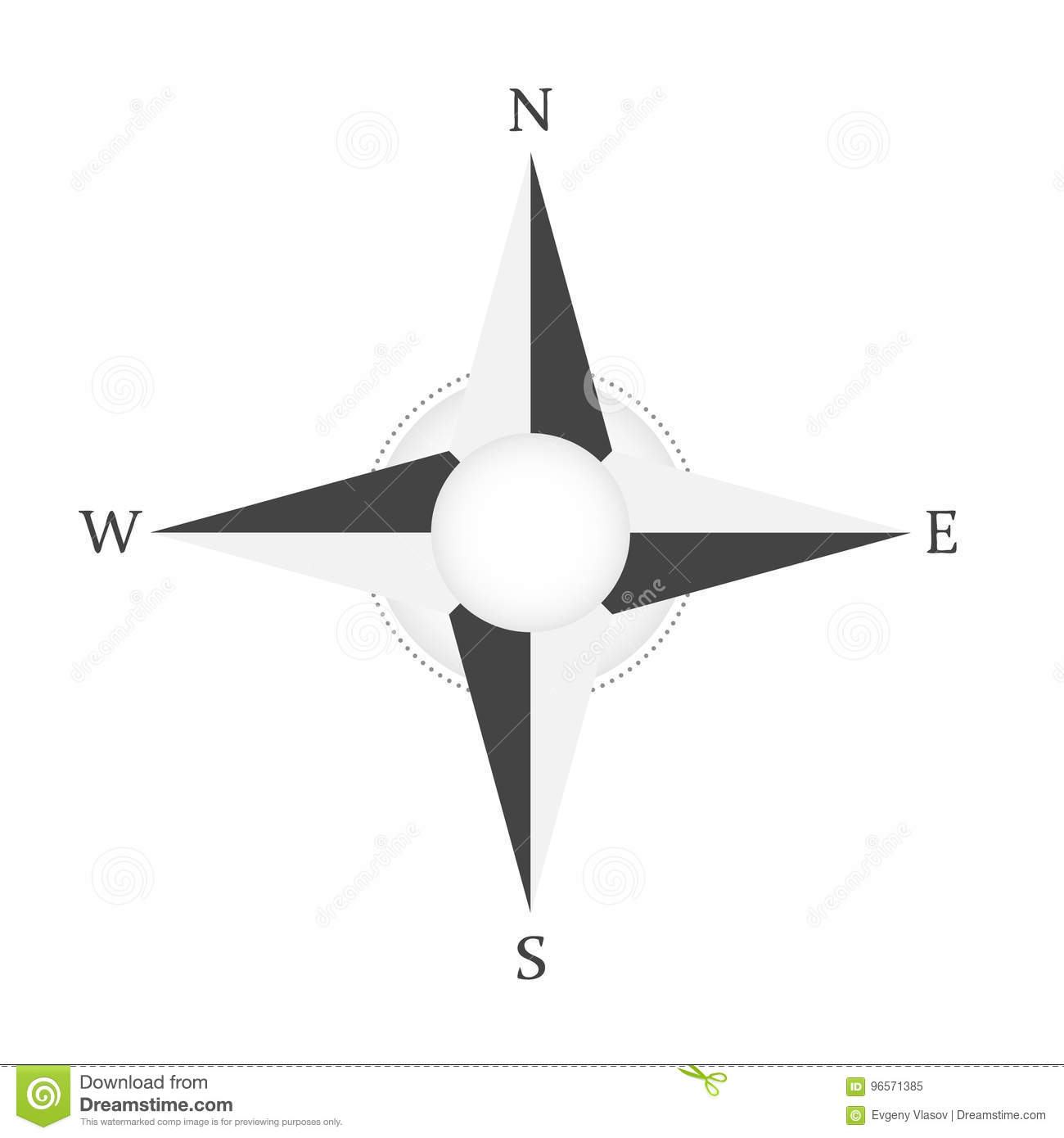 wind rose compass vector icon north west east south star stock