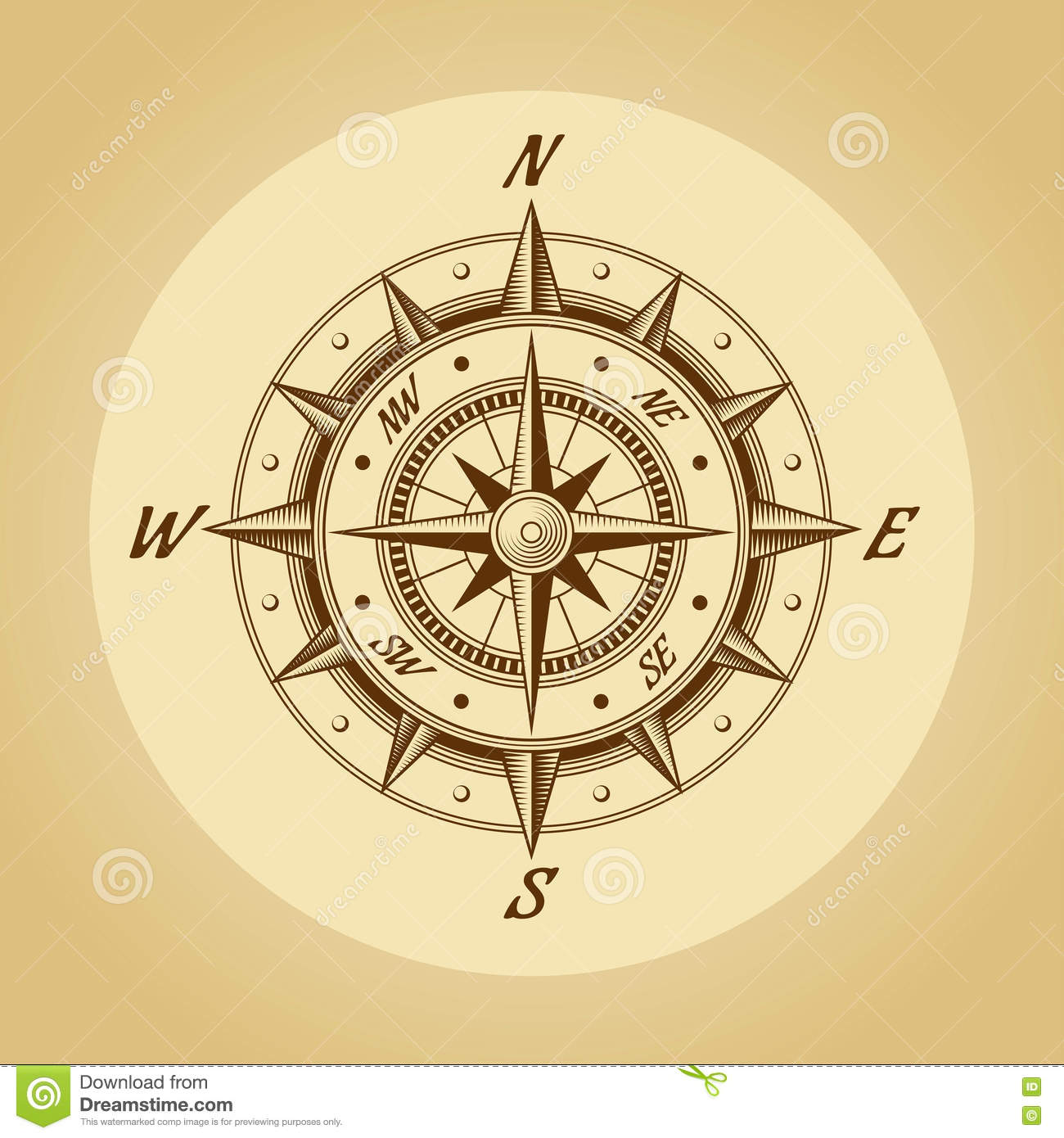 Wind Rose In Old Retro Style. Vector. Royalty Free Stock Photo - Image ...