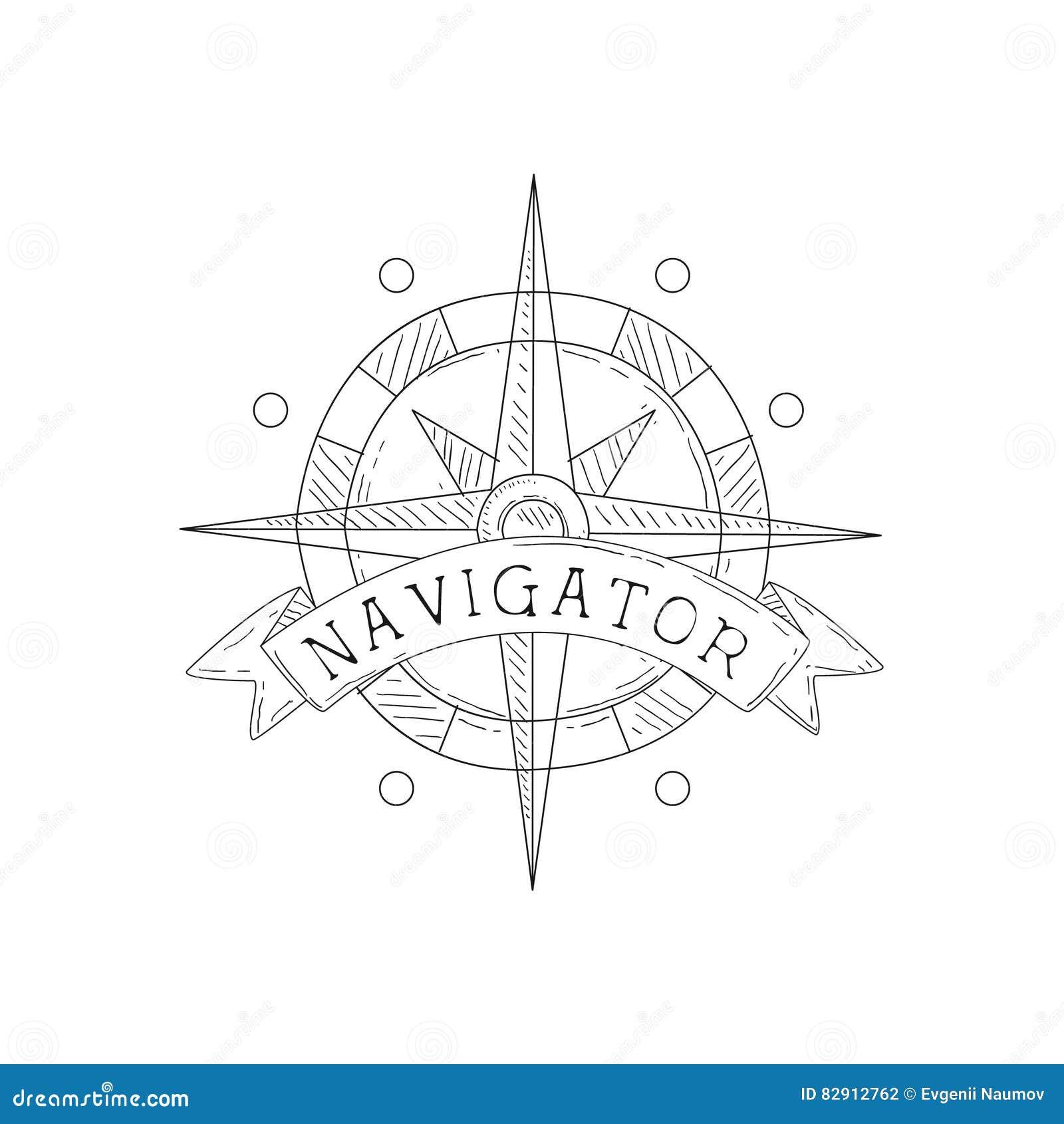 Wind-Rose Vintage Sea And Nautical-Symbol-Hand Gezeichnete Skizzen ...