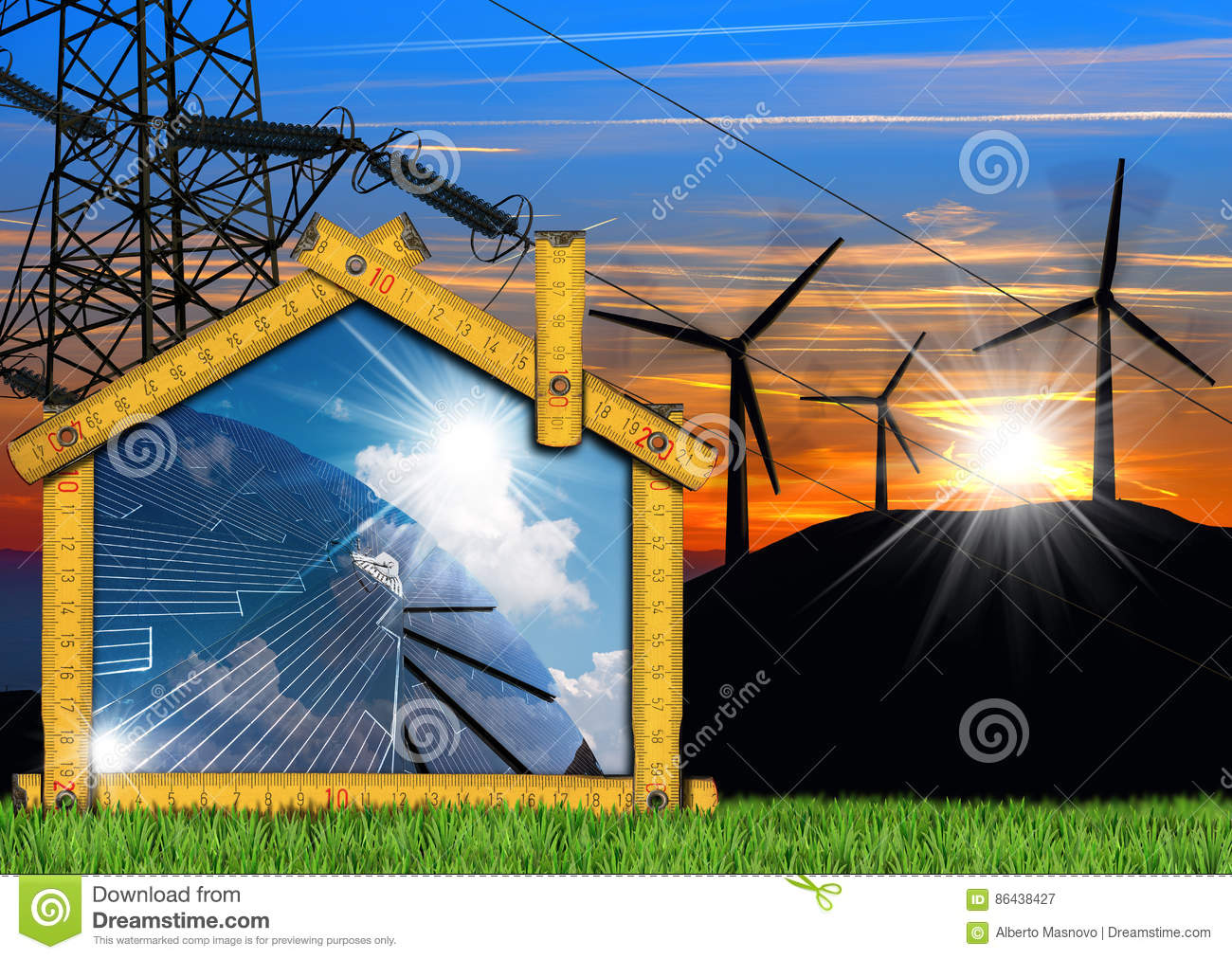 Wind And Solar Energy Project Of House Stock Illustration