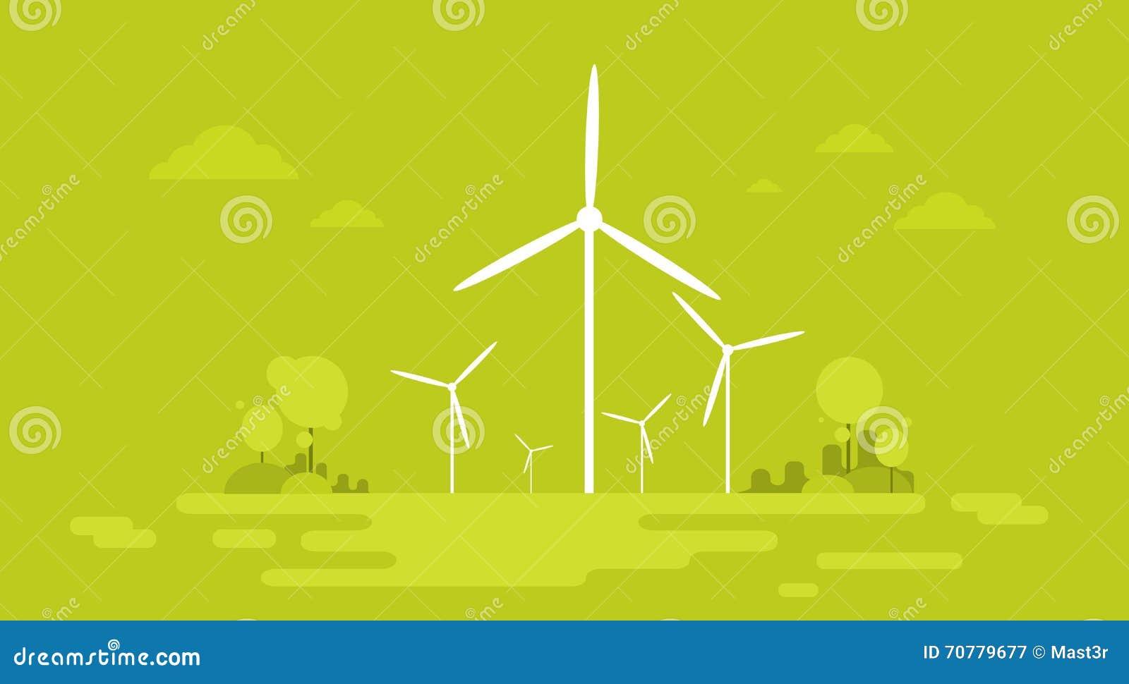 Wind-Stations-alternative Energiegewinnungs-Ressourcen-Natur-Hintergrund-Fahne