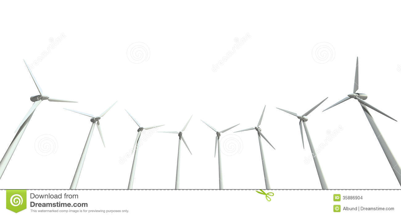 An array of regular wind turbines on an isolated white background.