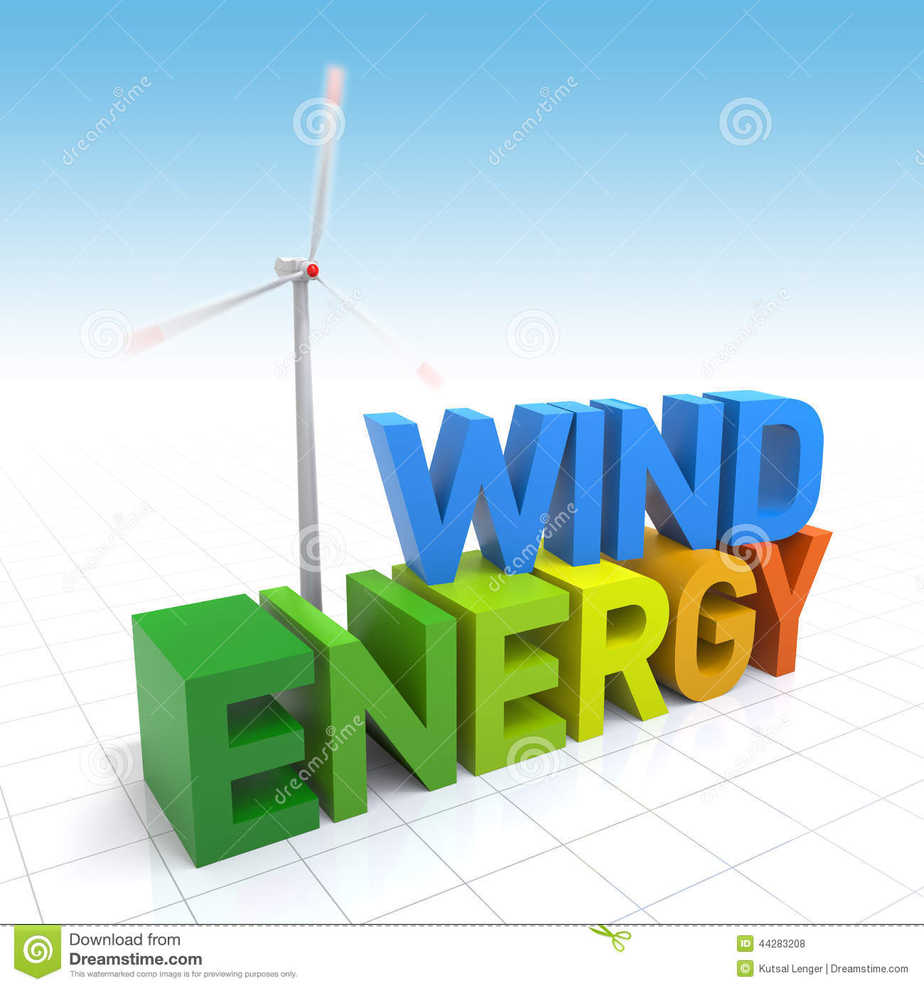 Wind Turbine and 3D Wind Energy text. Digitally Generated Image.