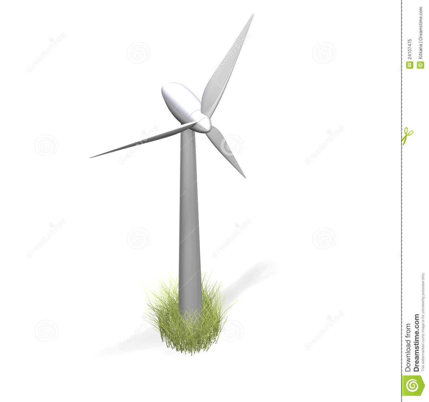 Wind Turbine And Grass On White Royalty Free Stock Photo