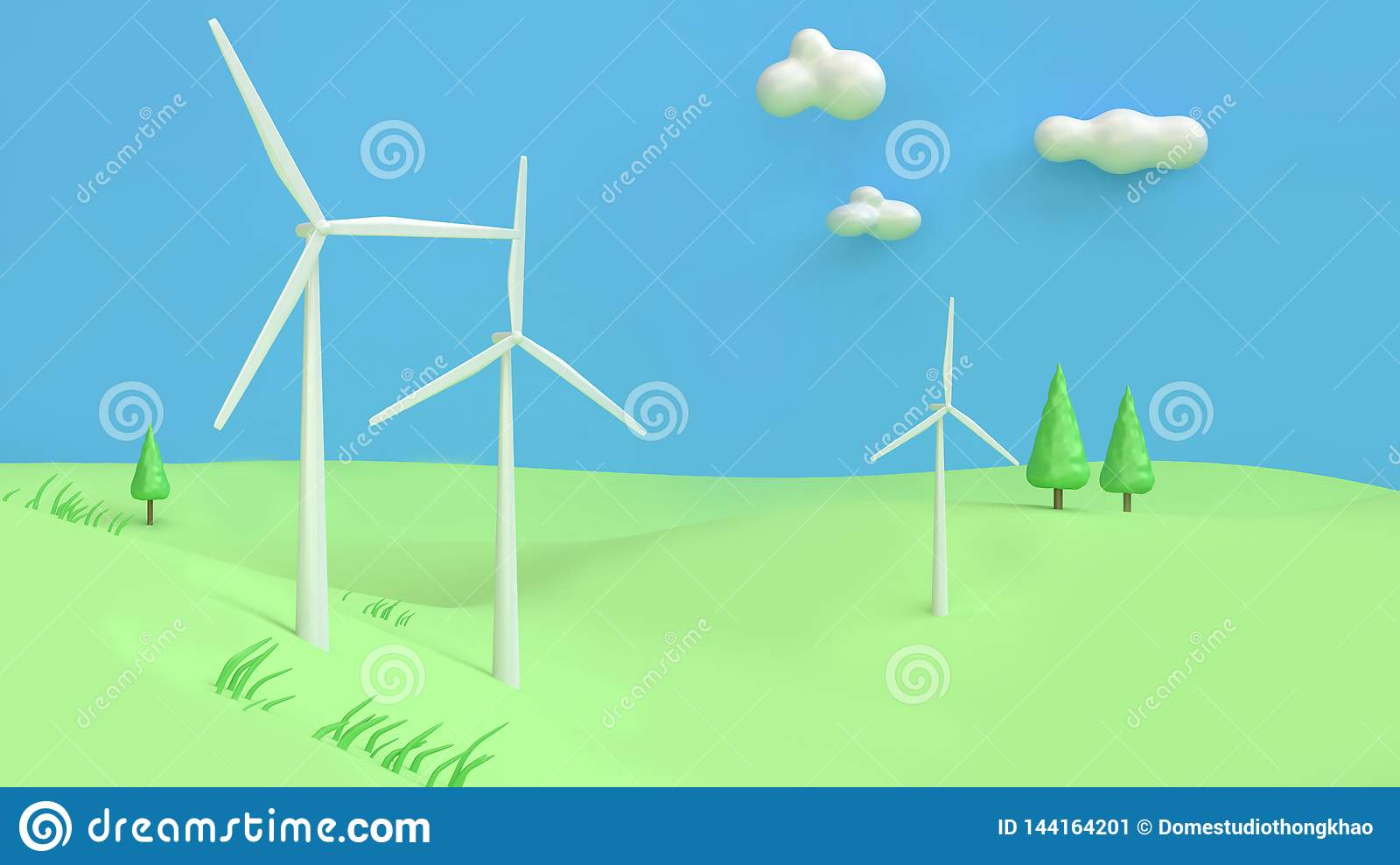 Wind turbine green hill blue sky cartoon style abstract 3d render,renewable energy environment save earth concept