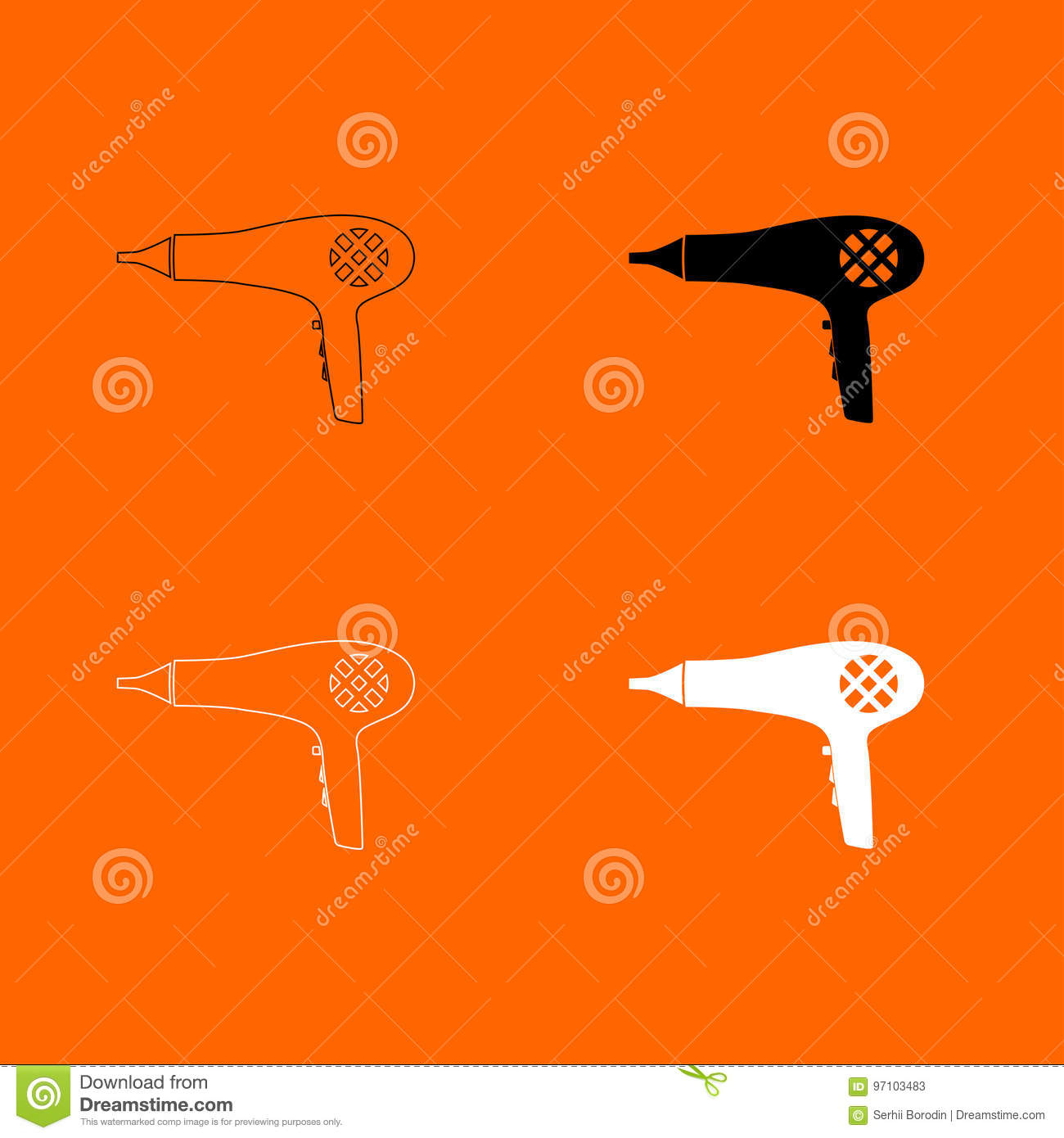 Blow Dryer Hair Dryer Black And White Color Set Icon Stock