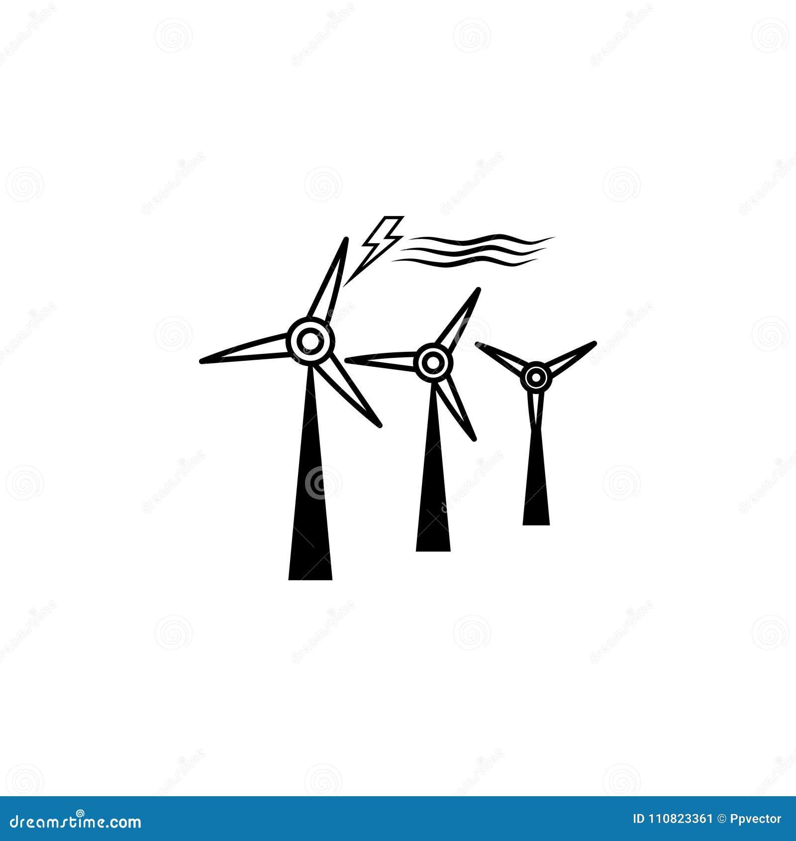 Wind Turbine Icon Symbol Stock Illustration Illustration Of Energy