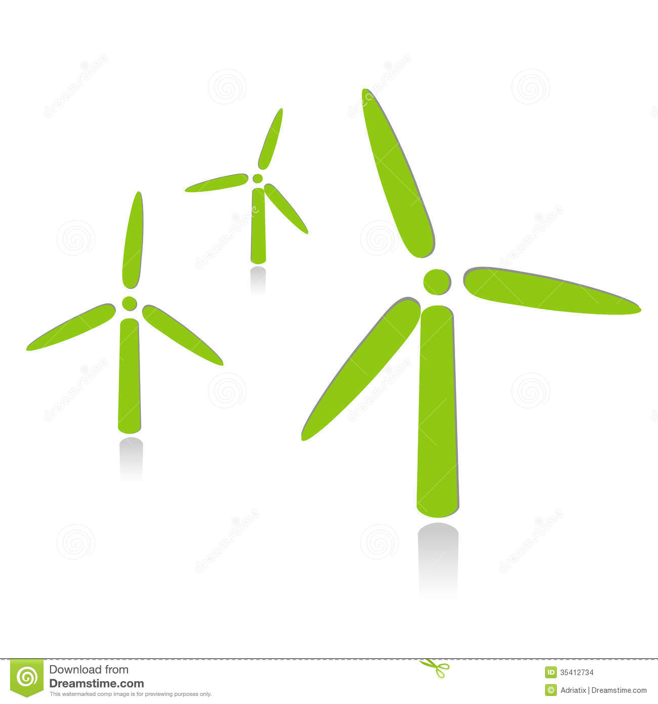 Illustration of wind turbine on a white background.