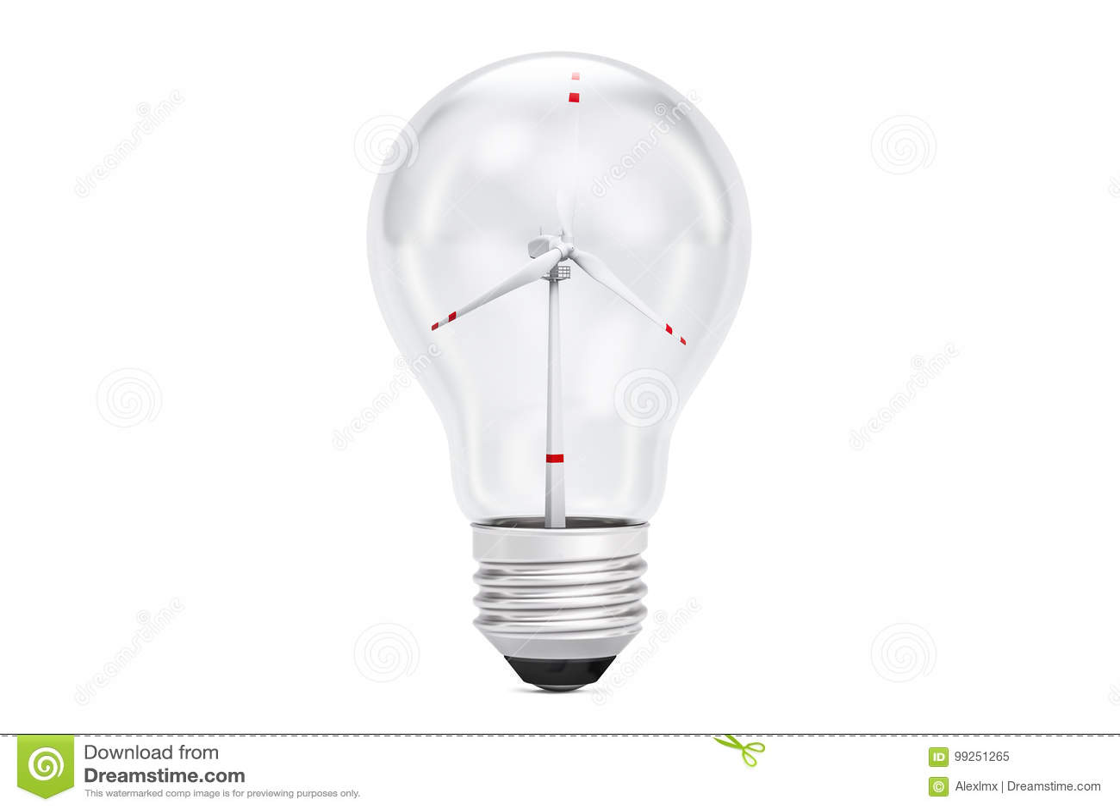 wind turbine inside light bulb green eco energy concept 3d ren
