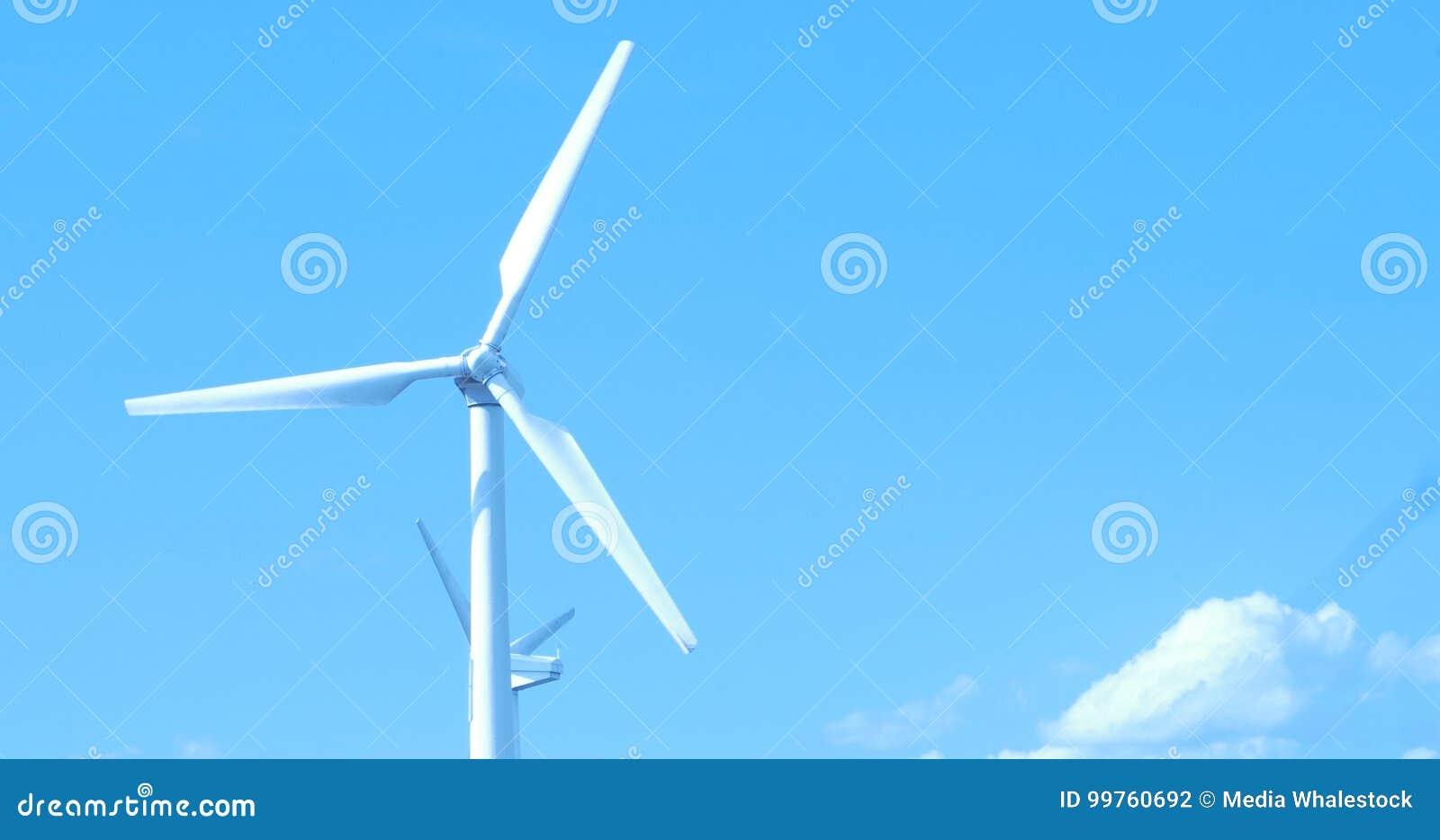 Wind Turbine Producing Alternative Energy, Close Up Stock