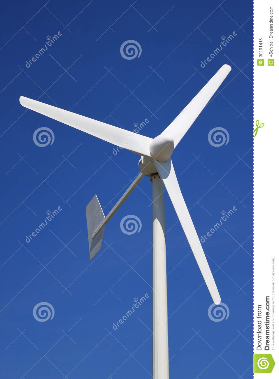 wind turbine for renewable energy on a background of blue sky.