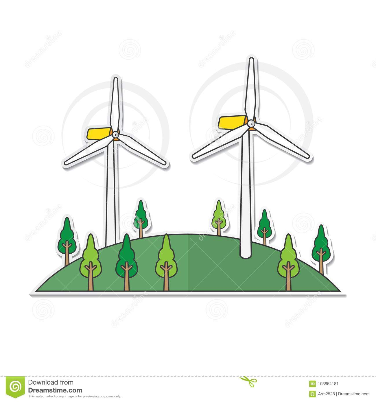 Wind Turbine In Simple Graphic Stock Vector Illustration Of Diagrams